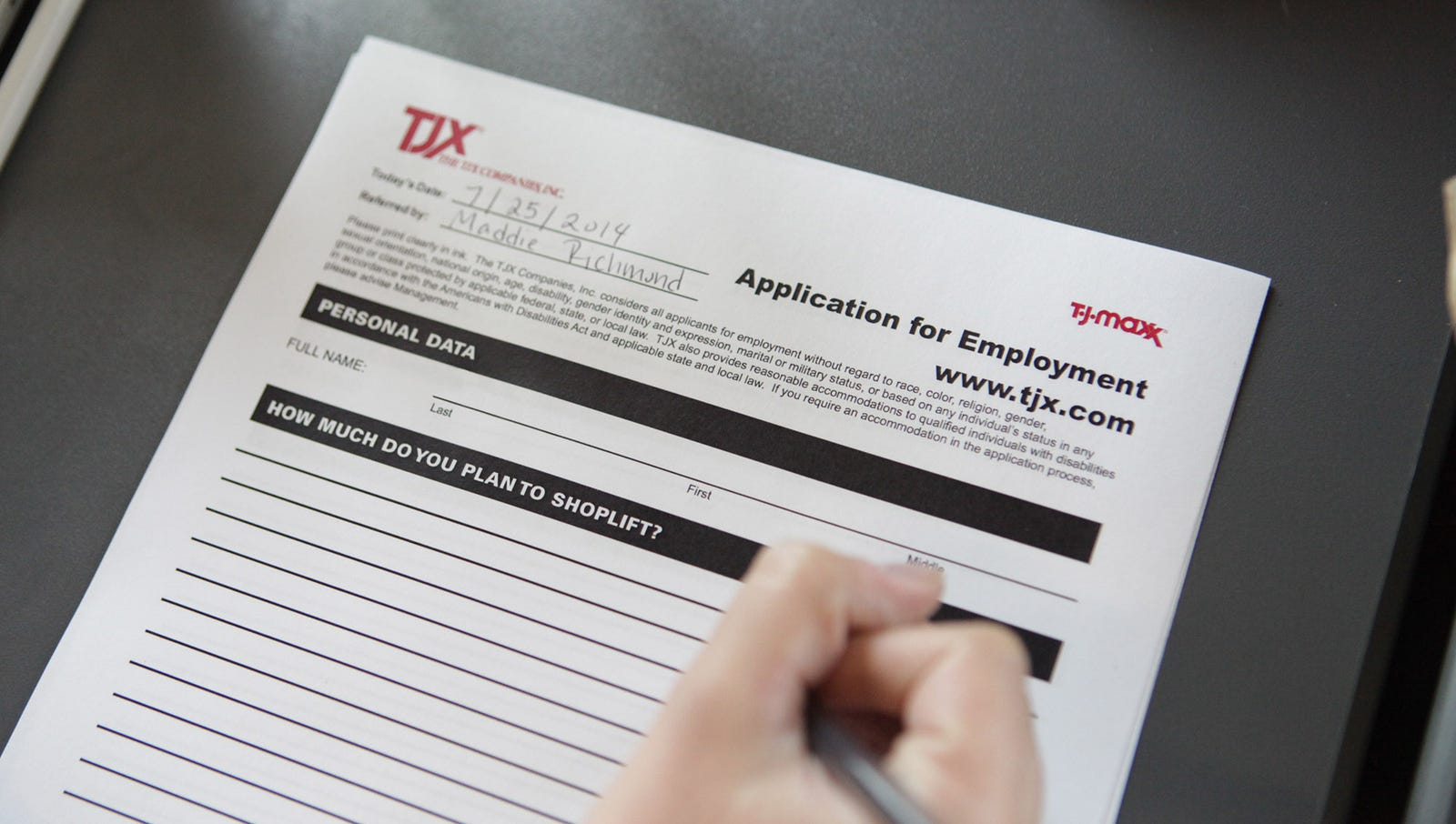 T.J. Maxx Job Application Just Asks Prospective Employees How Much They Plan To  Shoplift