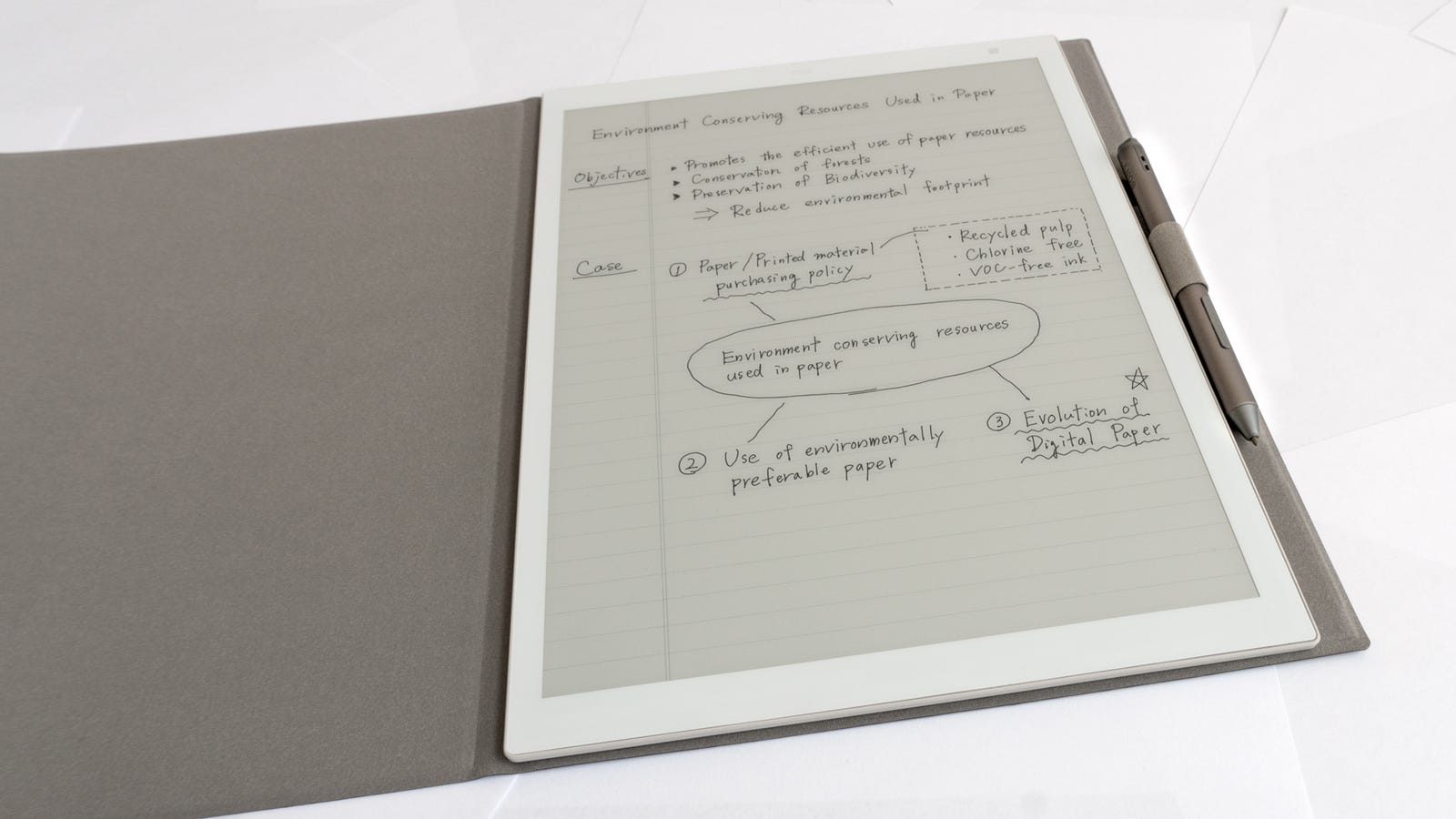 An optional folio-style case is available for the DPT-RP1, which also provides a better way to store the stylus.