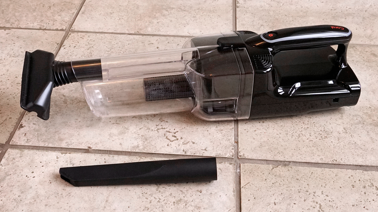 Transforming the Coral One's guts into a handvac is as easy as snapping on a couple of included accessories.