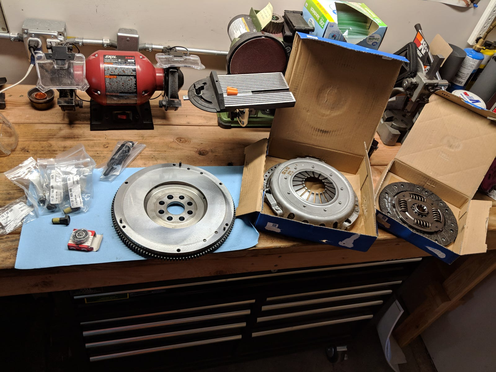 Resurfaced flywheel and new clutch components.