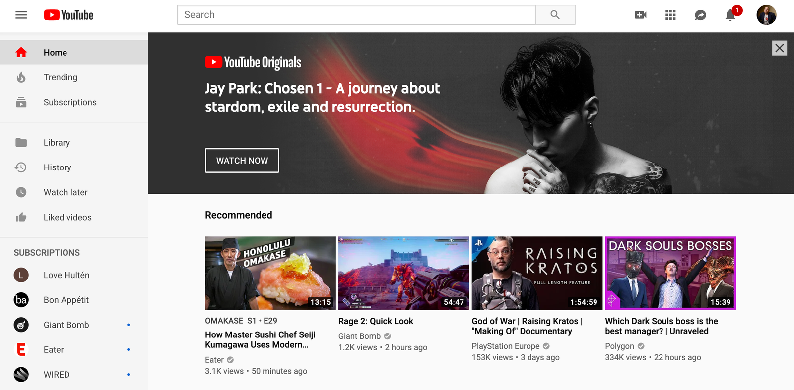 This is how the YouTube home page normally looks.