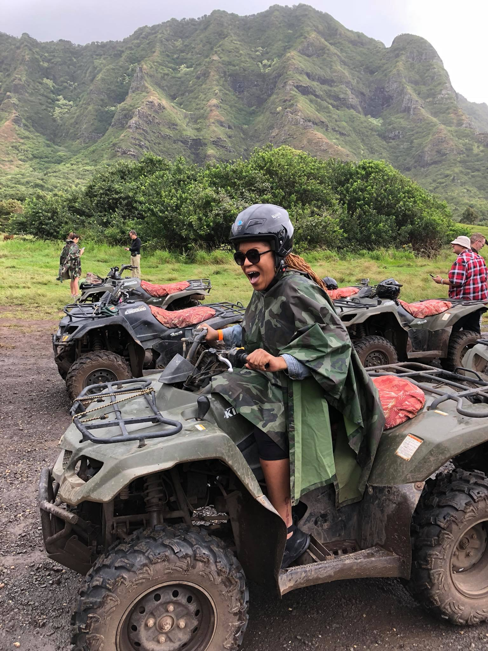 Me doing my best impression of a Tyrannosaurus, since we were riding through the area where Jurassic Park was shot (Yesha Callahan/The Root)