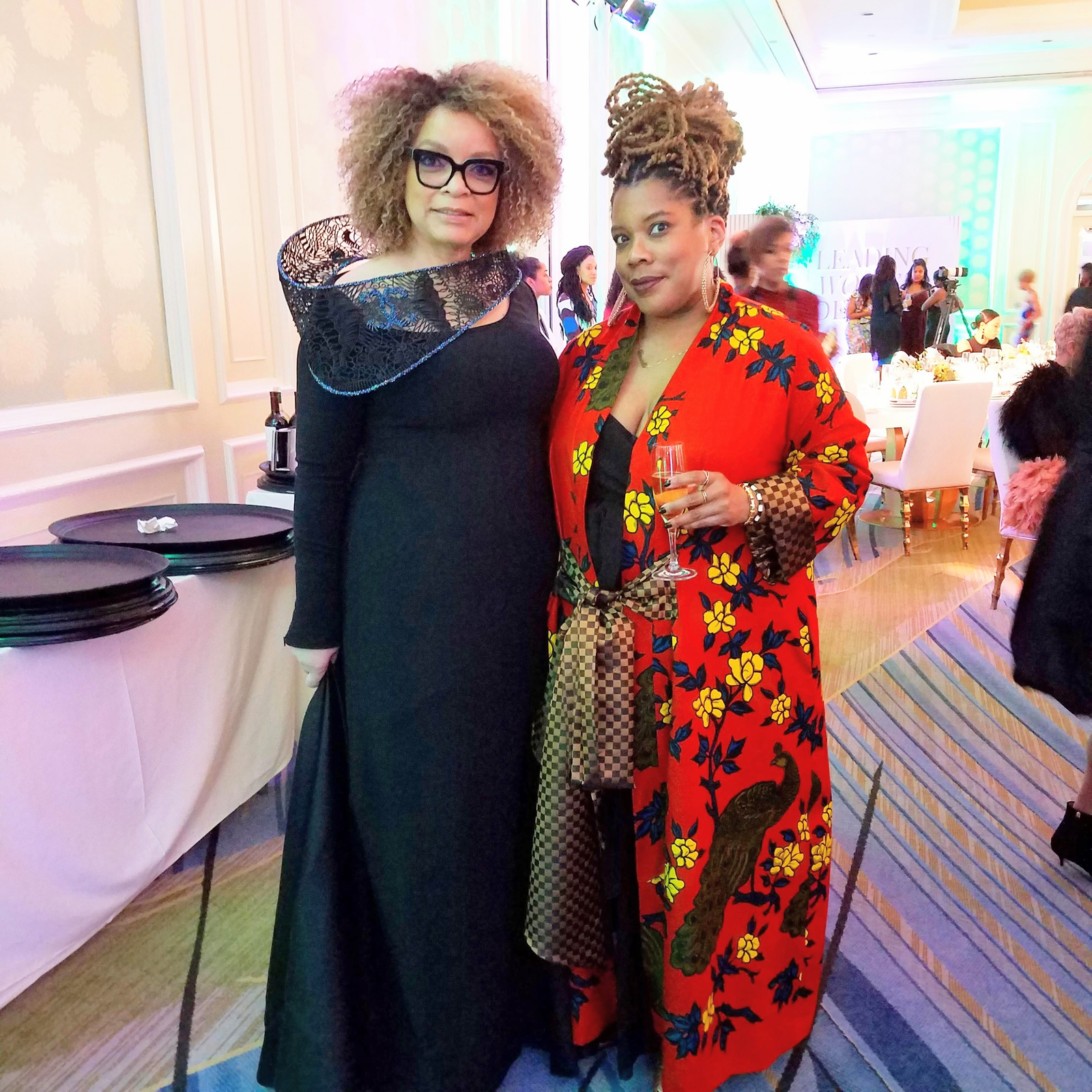 Oscar-winner Ruth Carter, left, and I pose at the annual Leading Women Defined retreat in California. I'm wearing one of Junny's caftans.