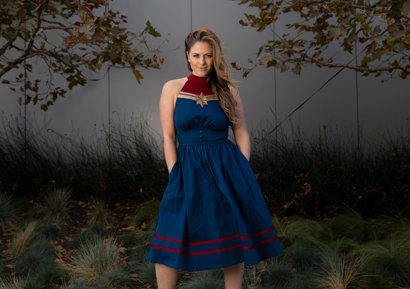 A Captain Marvel dress by Her Universe.