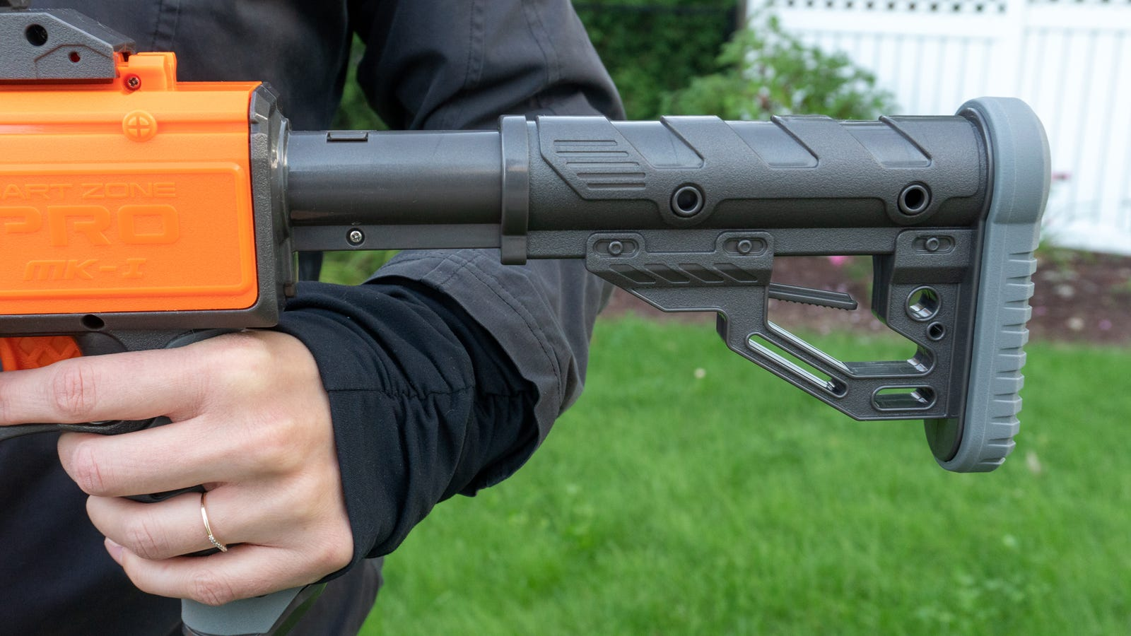Even the adjustable stock on the back of the blaster can be completely removed to make it smaller for transport.