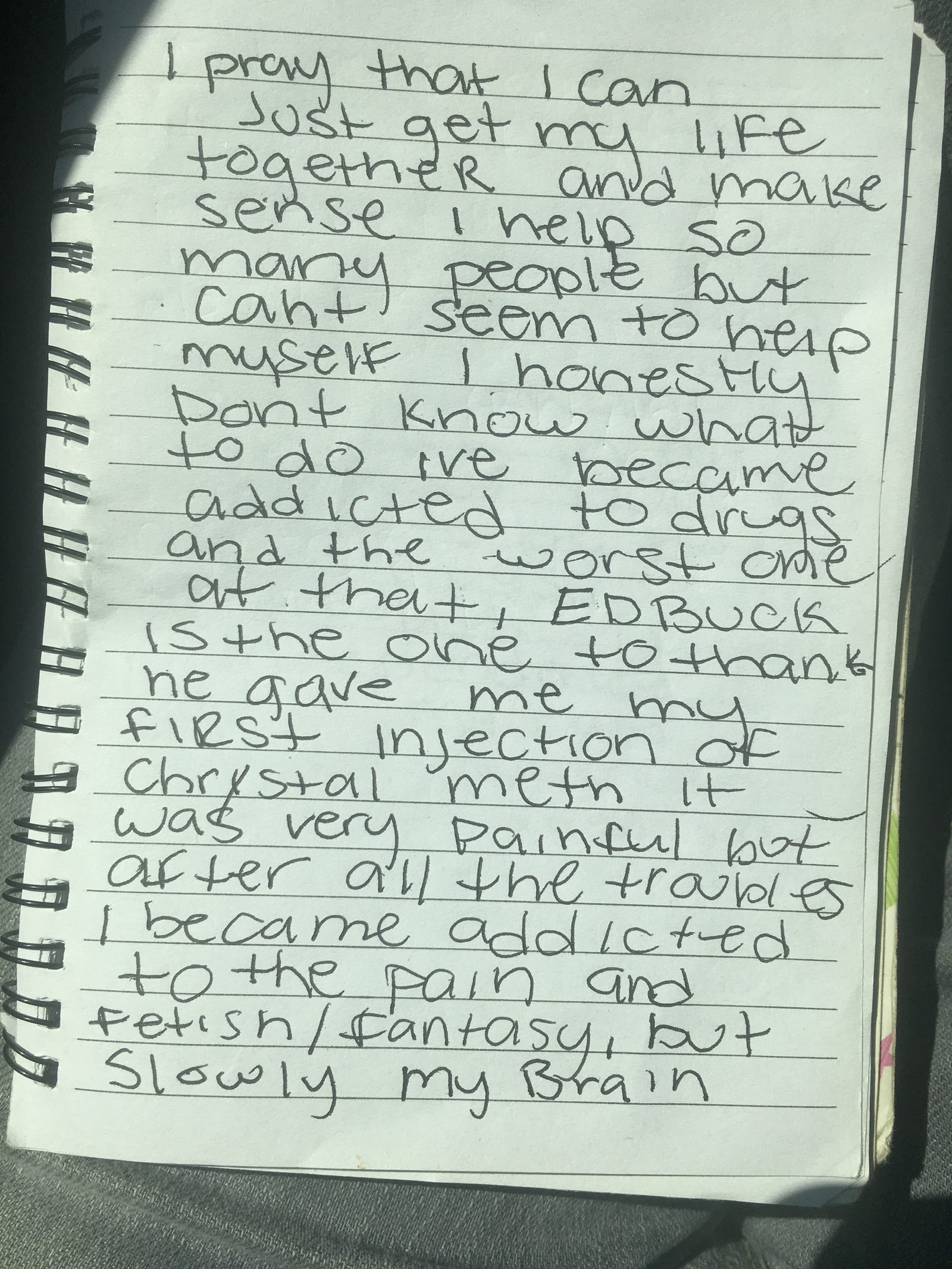 Journal entry from Gemmell Moore (Justice 4 Gemmell)