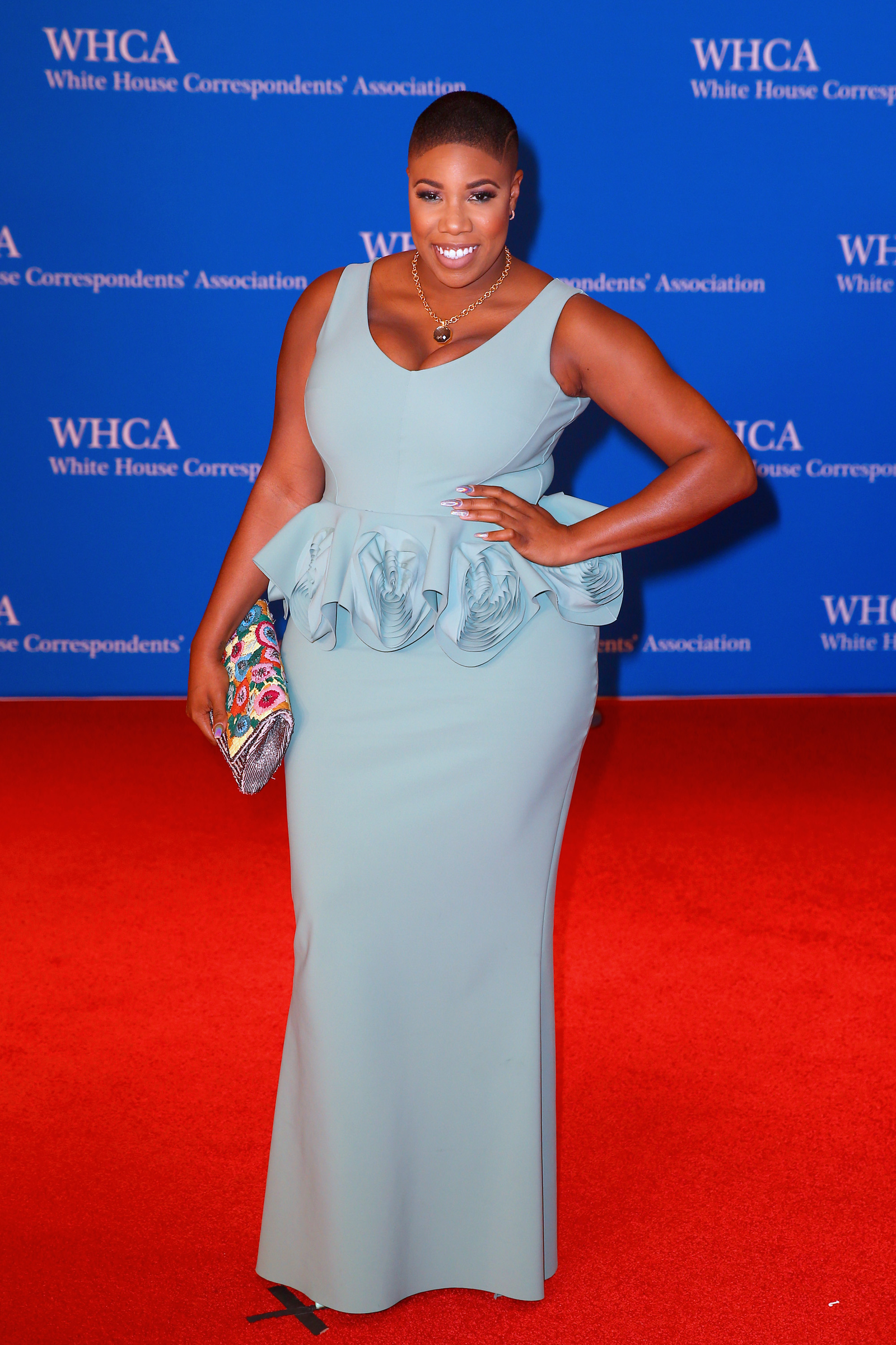 Sweet in seafoam: Former Sen. Bernie Sanders press secretary Symone Sanders attends the 2018 White House Correspondents' Dinner at the Washington Hilton on April 28, 2018, in Washington, D.C.