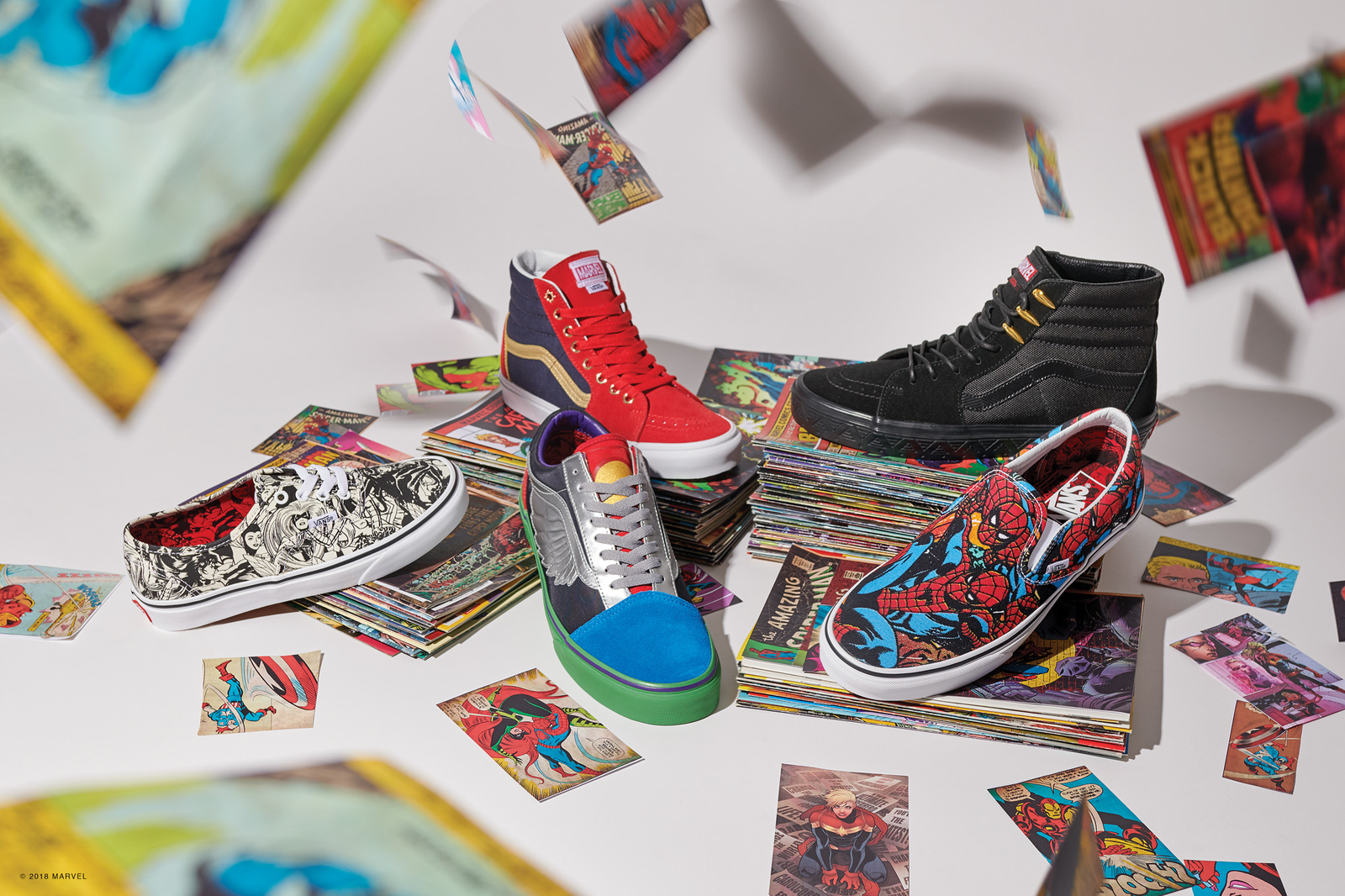 A collection of Vans x Marvel shoes.