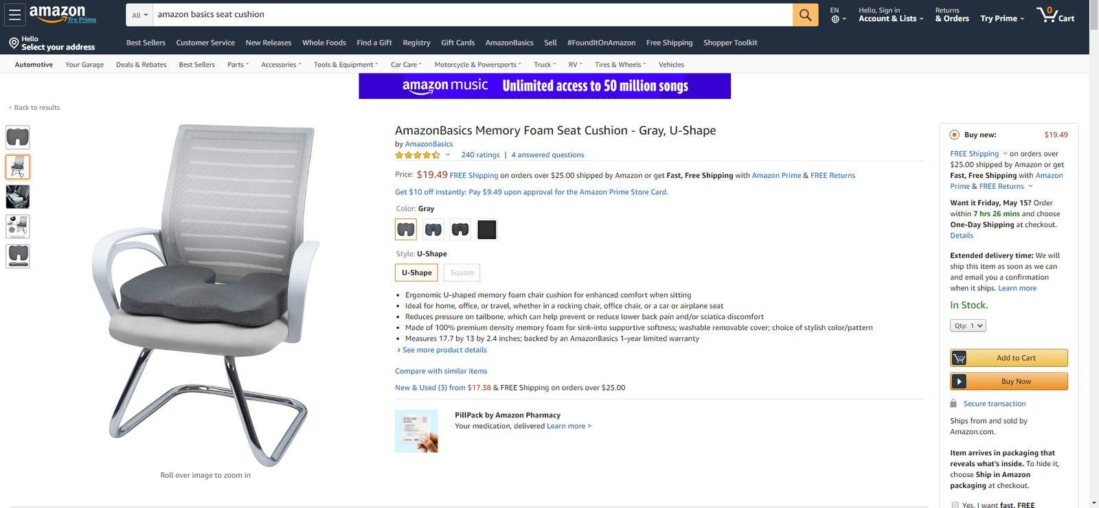 Amazon's own seat cushion.