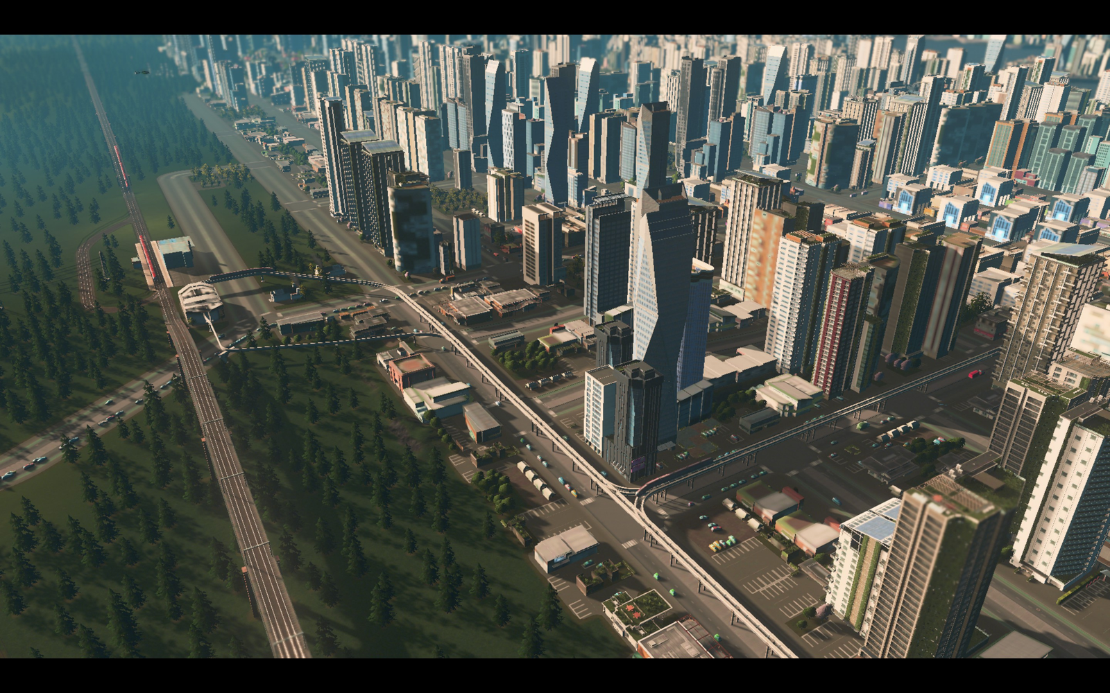 Umber Square train and monorail connections. As you can tell by the huge pile up in that road, traffic is still an issue.