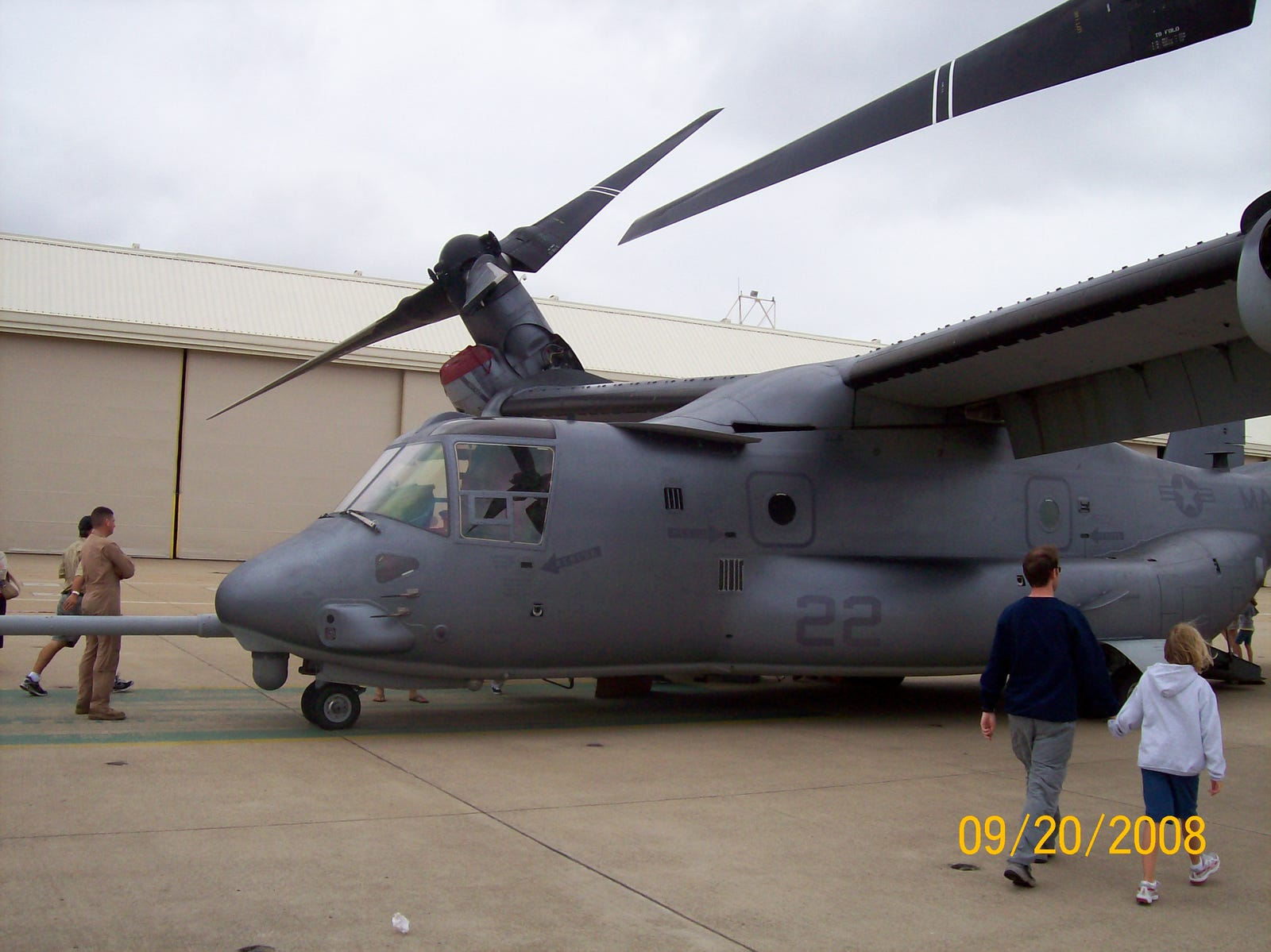 An MV-22B Osprey tiltrotor, which replaced the CH-46 in Marine service.
