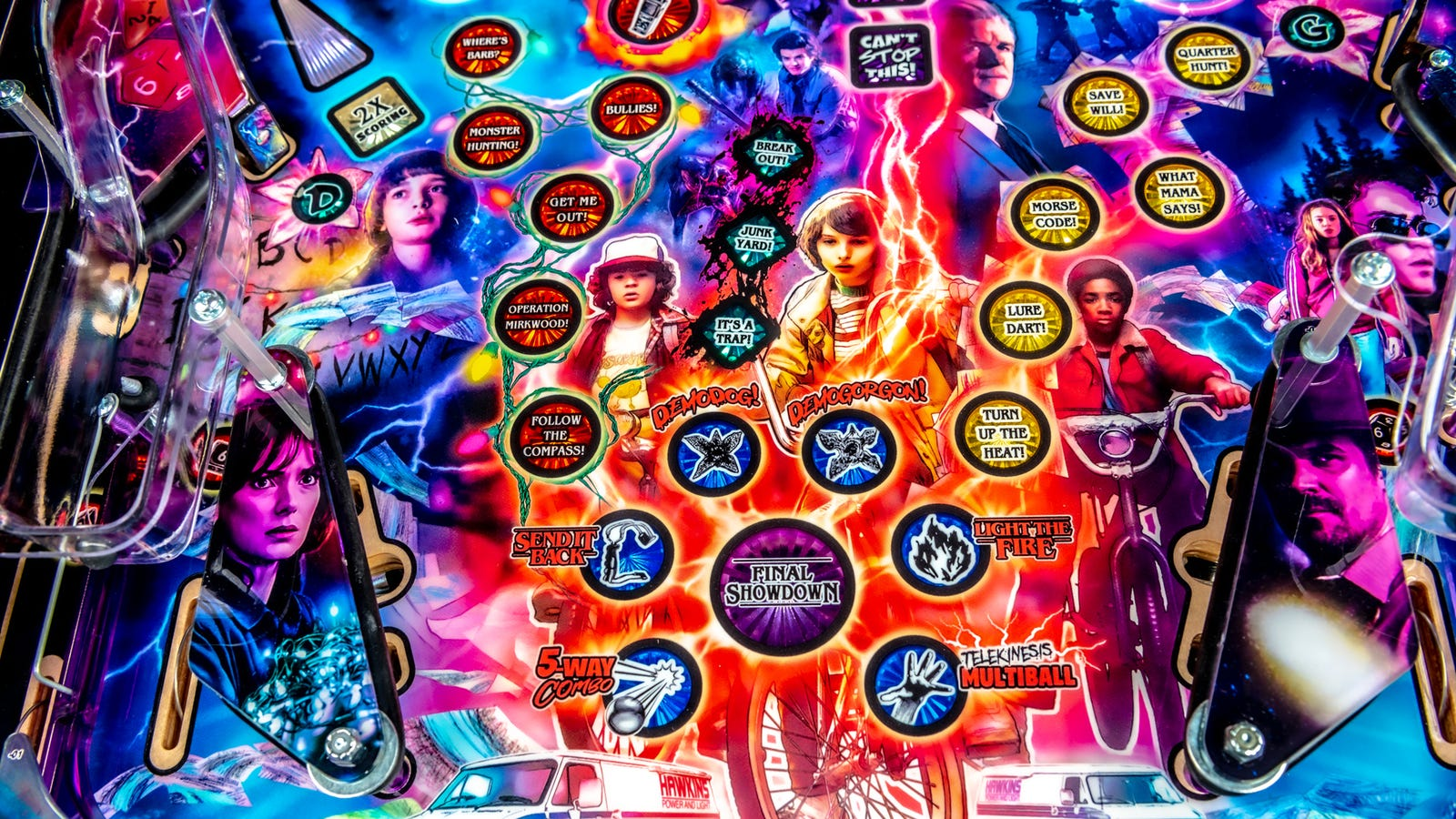 The table itself is completely saturated into Stranger Things graphics including all the characters from the series.