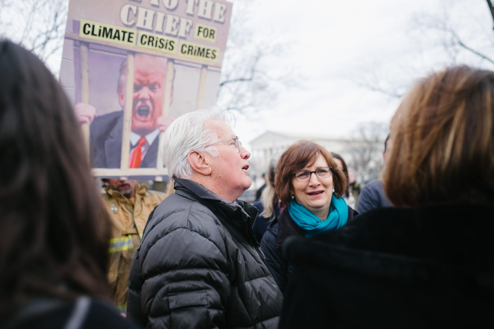 Martin Sheen talking with Representatives Kathy Castor and Suzanne Bonamici, a chair and member of the House Select Committee on the Climate Crisis