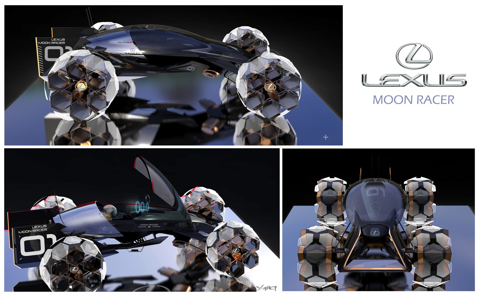 The Lexus Moon Racer is dedicated to the varied peaks of the lunar surface. This recreational vehicle is made for one human who wants to enjoy the effects of the lower-gravity in an amazing spot. You can jump, climb, race, and discover the entire moon. A giant glass bubble surrounds the driver in order to emphasize the feeling of freedom.