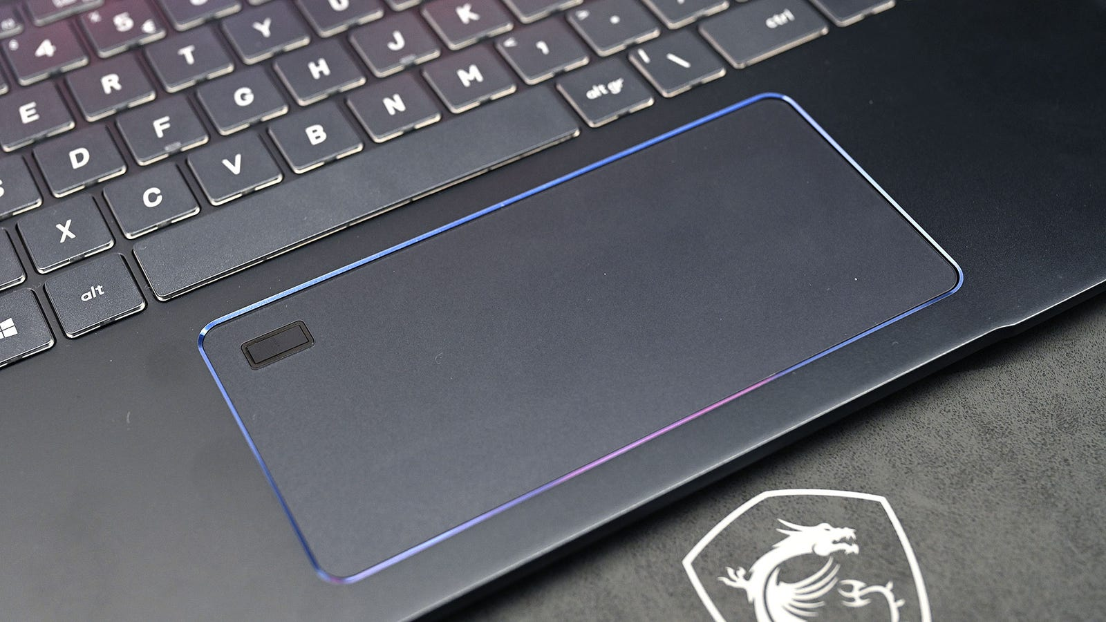 The touchpads on all of MSI's content-minded laptops are exceedingly wide.