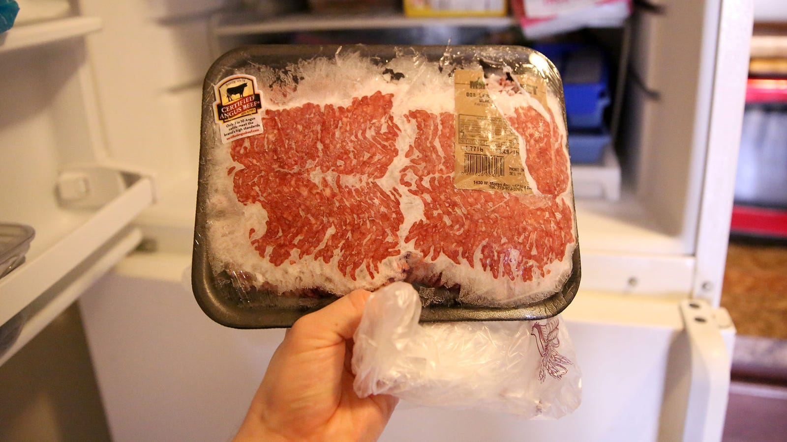 Two pounds of ground beef from the back of the freezer: Or is it flank steak? It'll be fine once it's defrosted.
