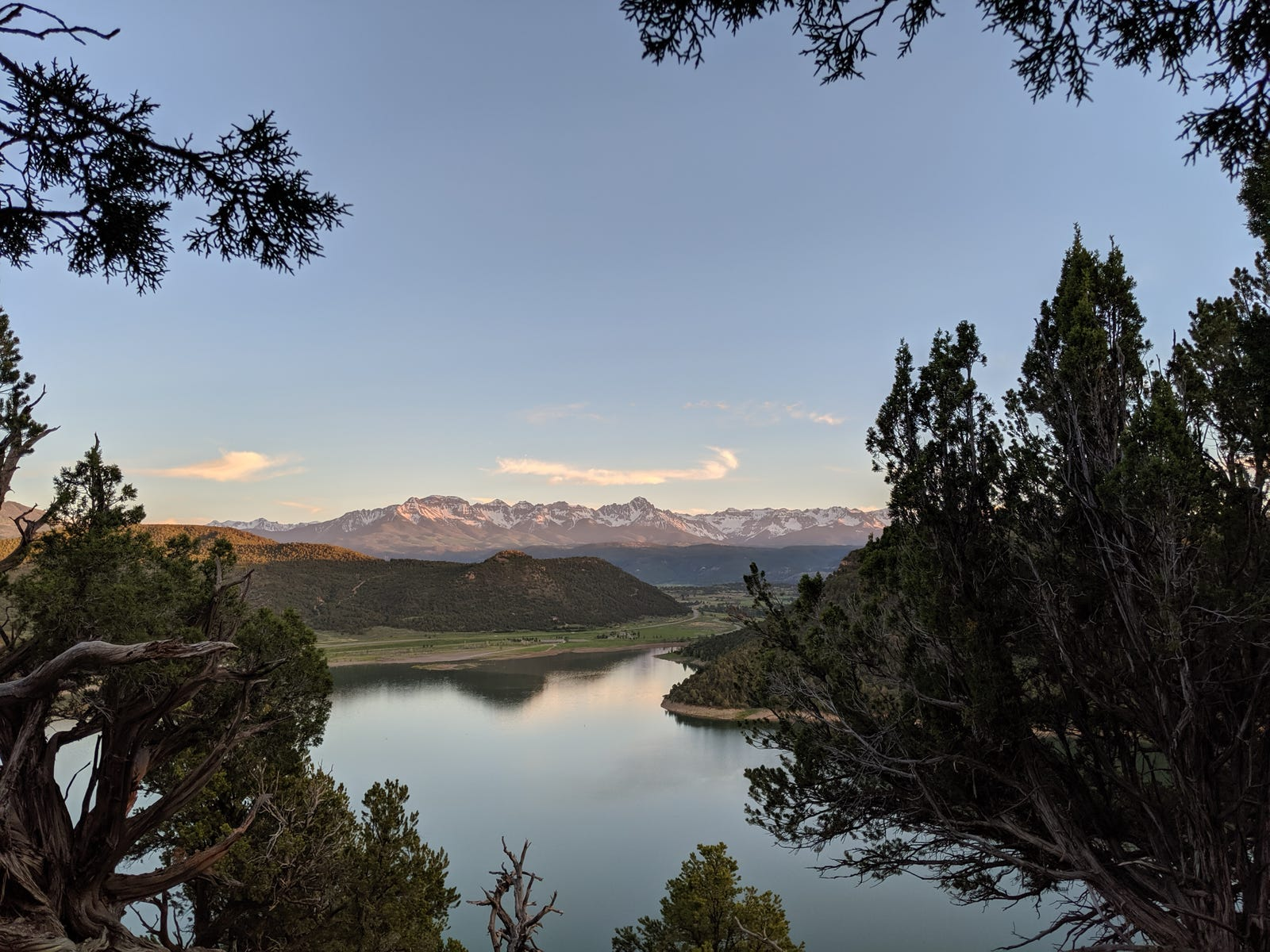 View from our campsite at Ridgway State Park in Colorado