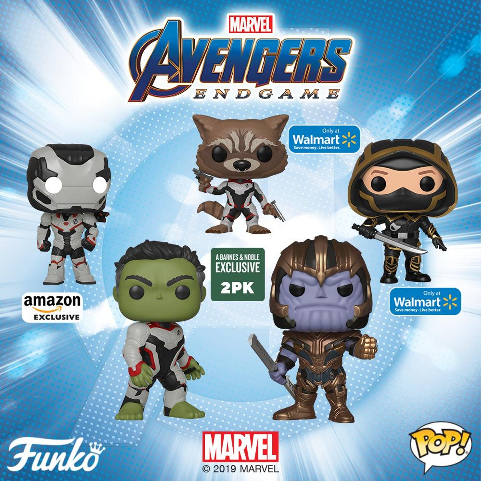 Even more exclusive Pops, including the only ways to get Rocket and War Machine for your 'Oh god everyone's in a spacesuit' collection.