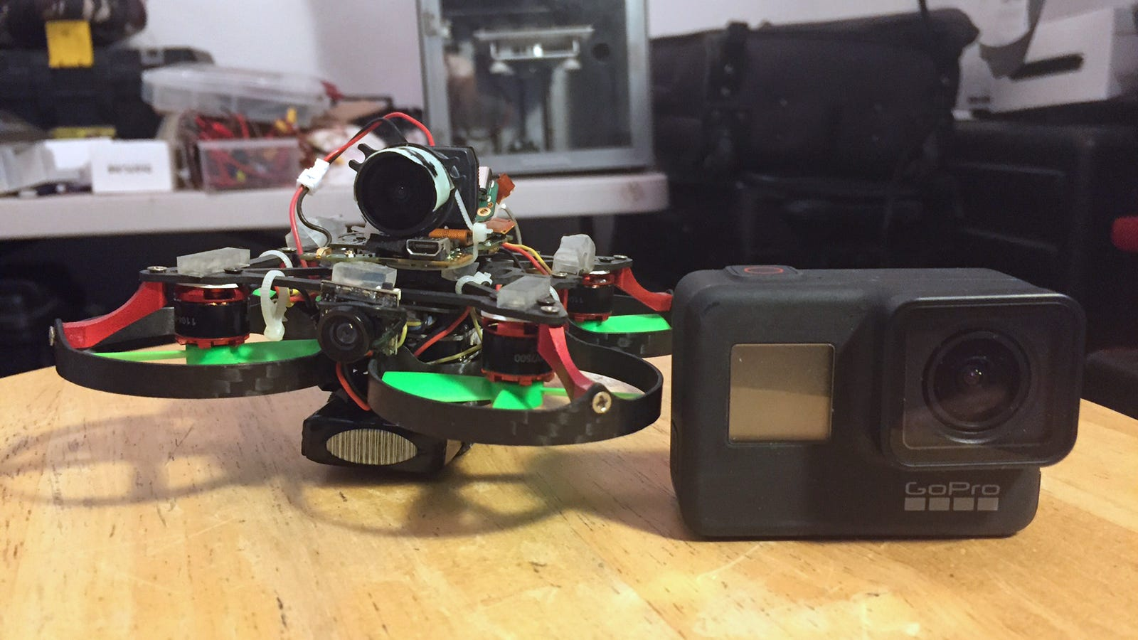 To save weight, the drone's onboard GoPro camera was stripped to its bare essentials.