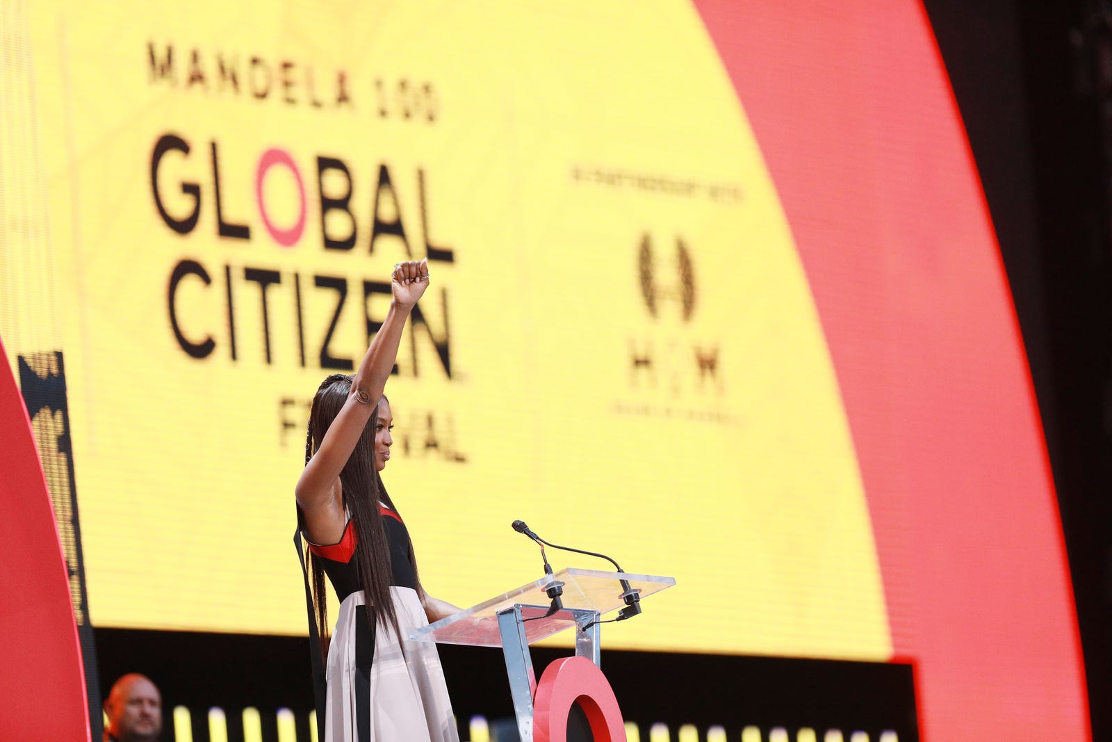 Naomi Campbell speaks on stage during the Global Citizen Festival: Mandela 100 at FNB Stadium on December 2, 2018 in Johannesburg, South Africa.