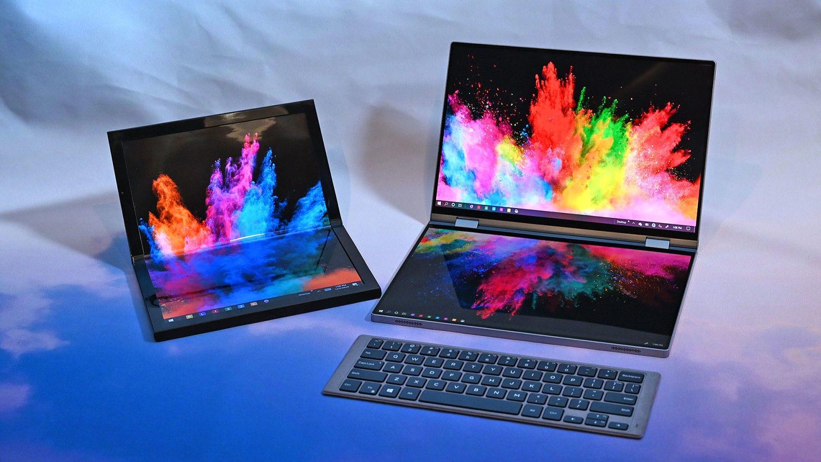 Estos son los nuevos prototípos de Dell. A la izquierda está Concept Ori y a la derecha Concept Duet. Foto: Sam Rutherford (Gizmodo)