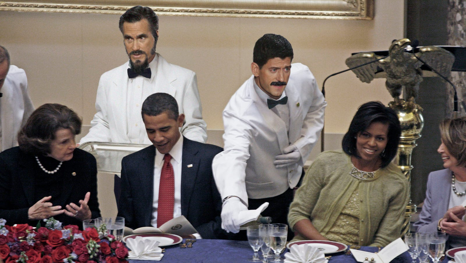 Romney, Ryan Sneak Into DNC While Posing As Caterers
