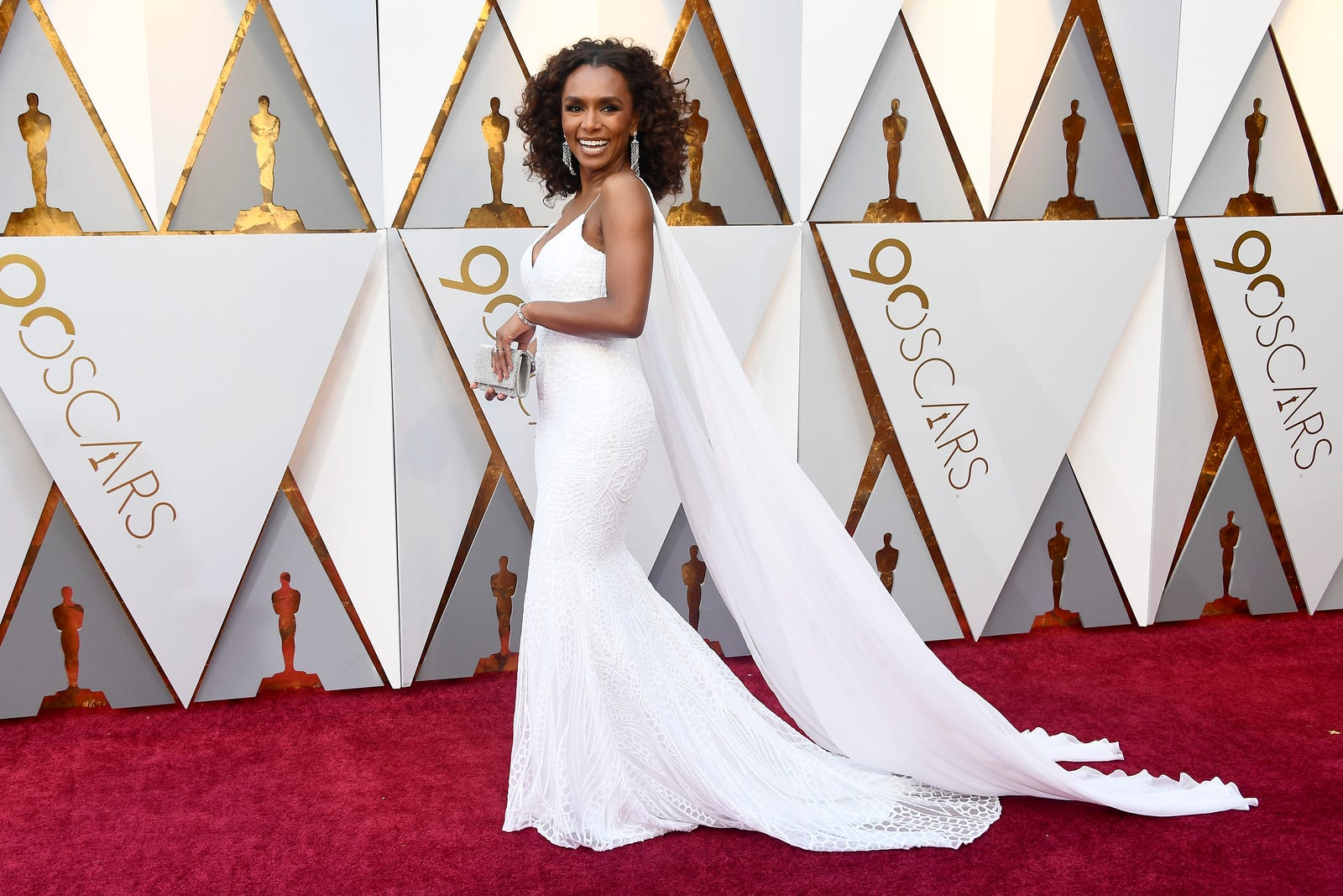 Janet Mock gave us old Hollywood glamour in this white gown. (Frazer Harrison/Getty Images)
