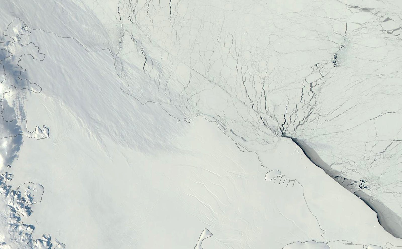 The Larsen C ice shelf in 2012, just a blank slate.