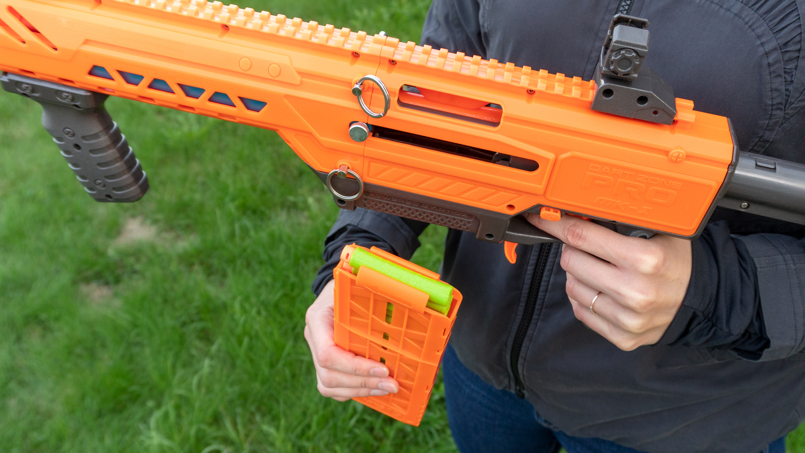 The PRO MK-1 is compatible with Nerf's magazines and darts if you've already got a mountain of accessories.