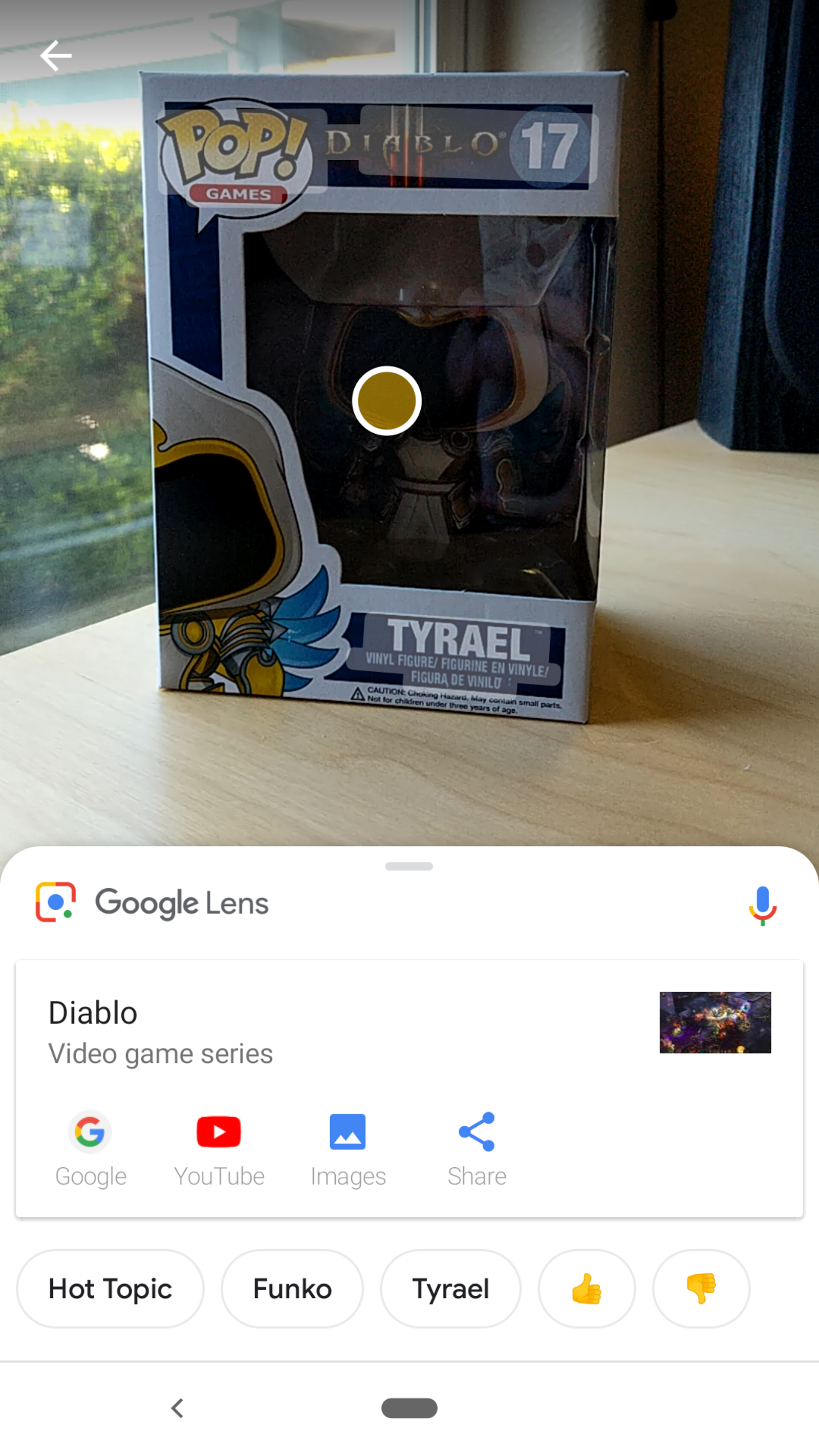 Google Lens correctly identified the Funko Pop's game (Diablo III), the fact that it was a Funko Pop, and even provided a link to where one can typically buy said silly items (Hot Topic). Not too shabby.