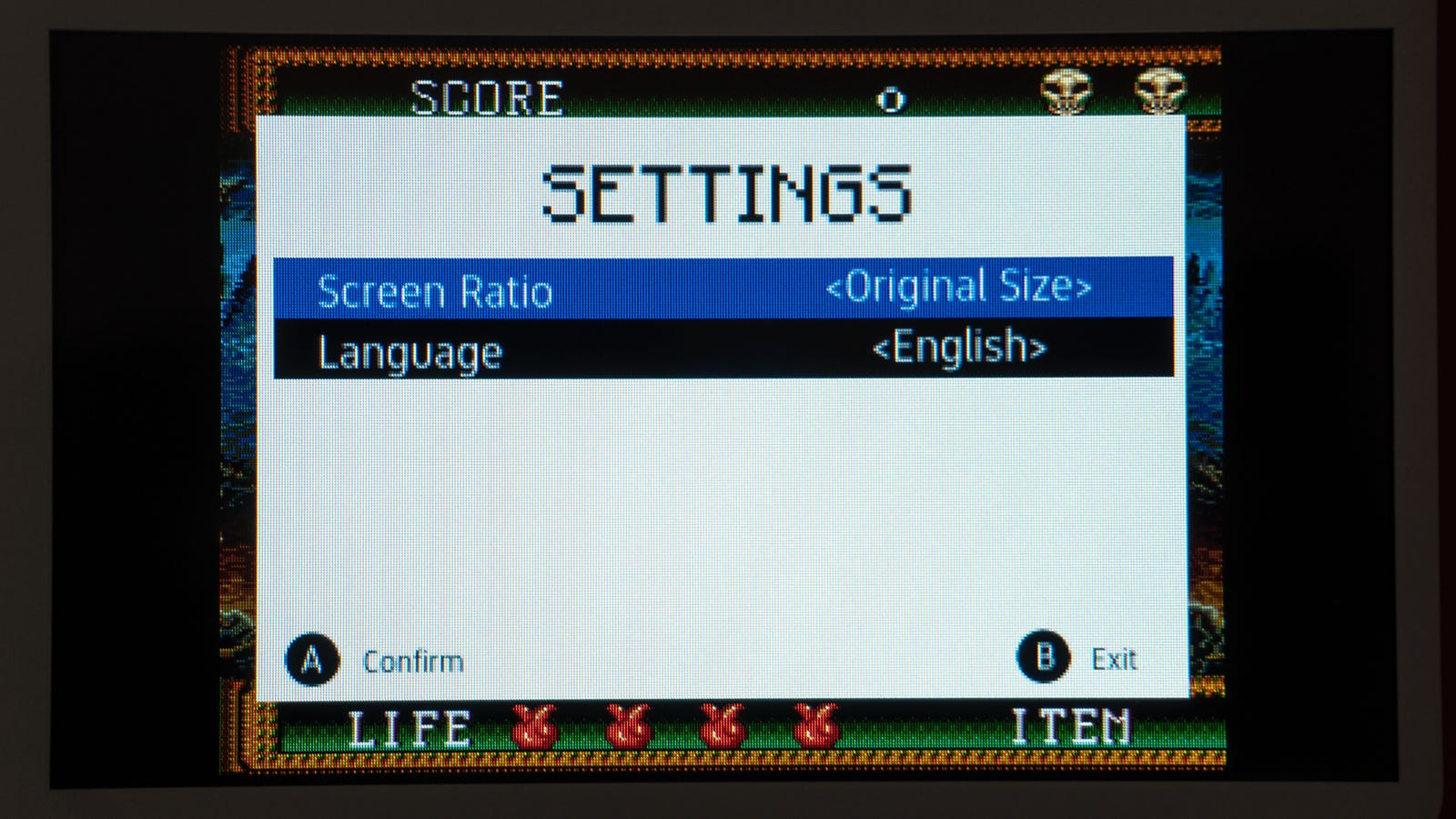The Evercade's Settings menu is sparse, but games can be switched between 4:3 aspect ratios or stretched to full screen.