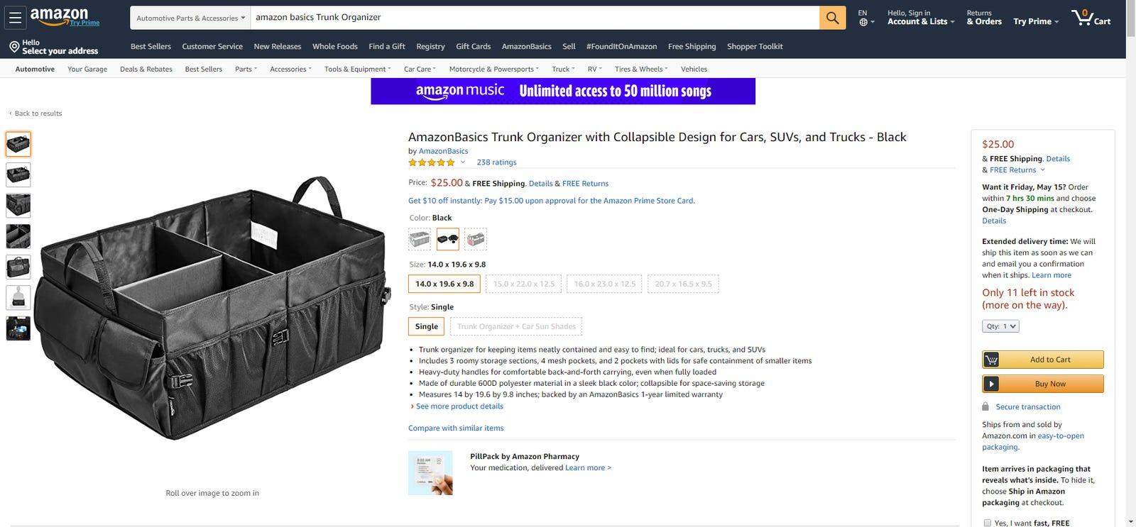 Amazon's own car trunk organizer.