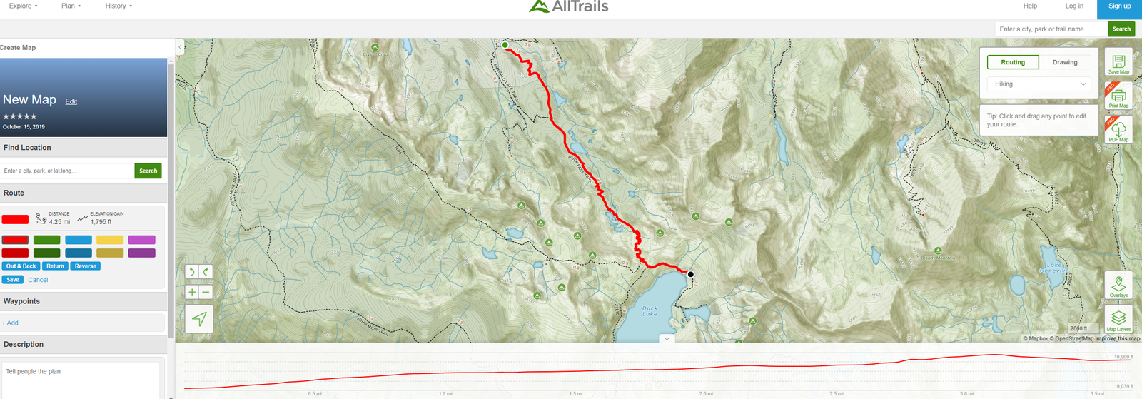 The trail for the day. I have discovered the custom trail feature on the Alltrails website which lets me just draw trails (either as straight lines point to point for a fully custom map or following the already existing routes on the map). This will allow me to accurately portray all of my hikes on this trip.