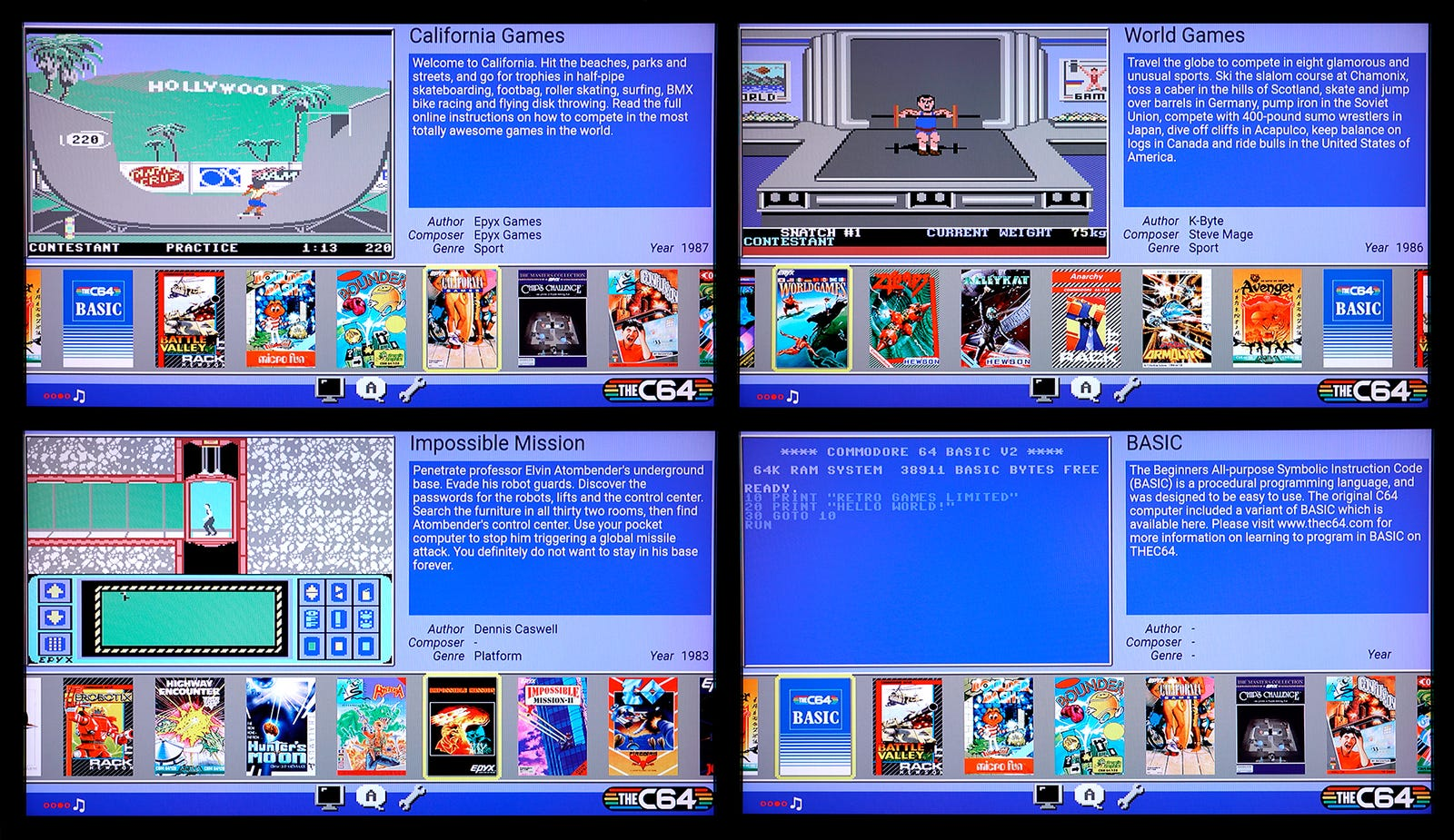 A small sampling of the games included with the C64 Mini.