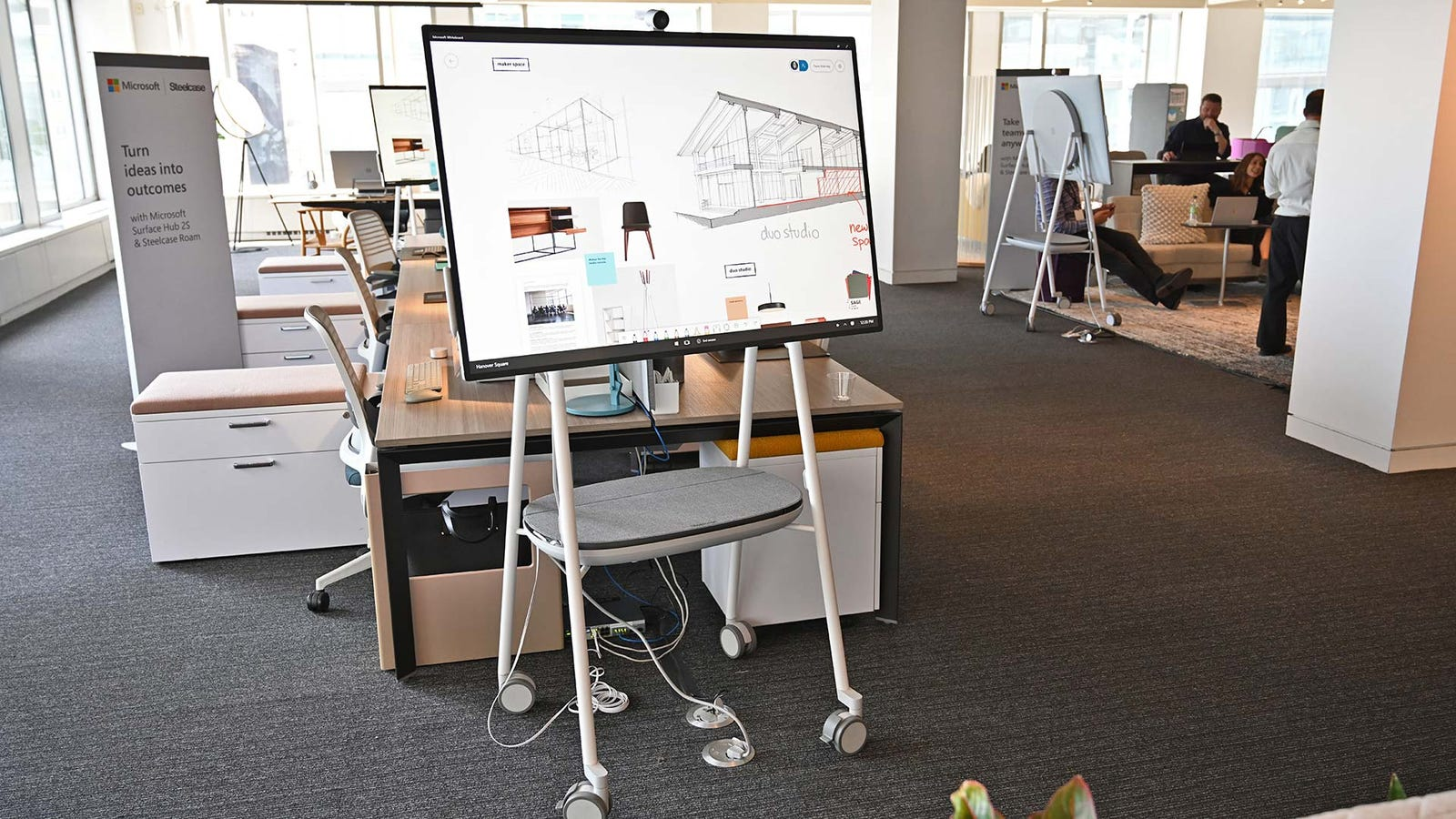 Here's the 50-inch Surface Hub 2S with Steelcase's Roam stand.