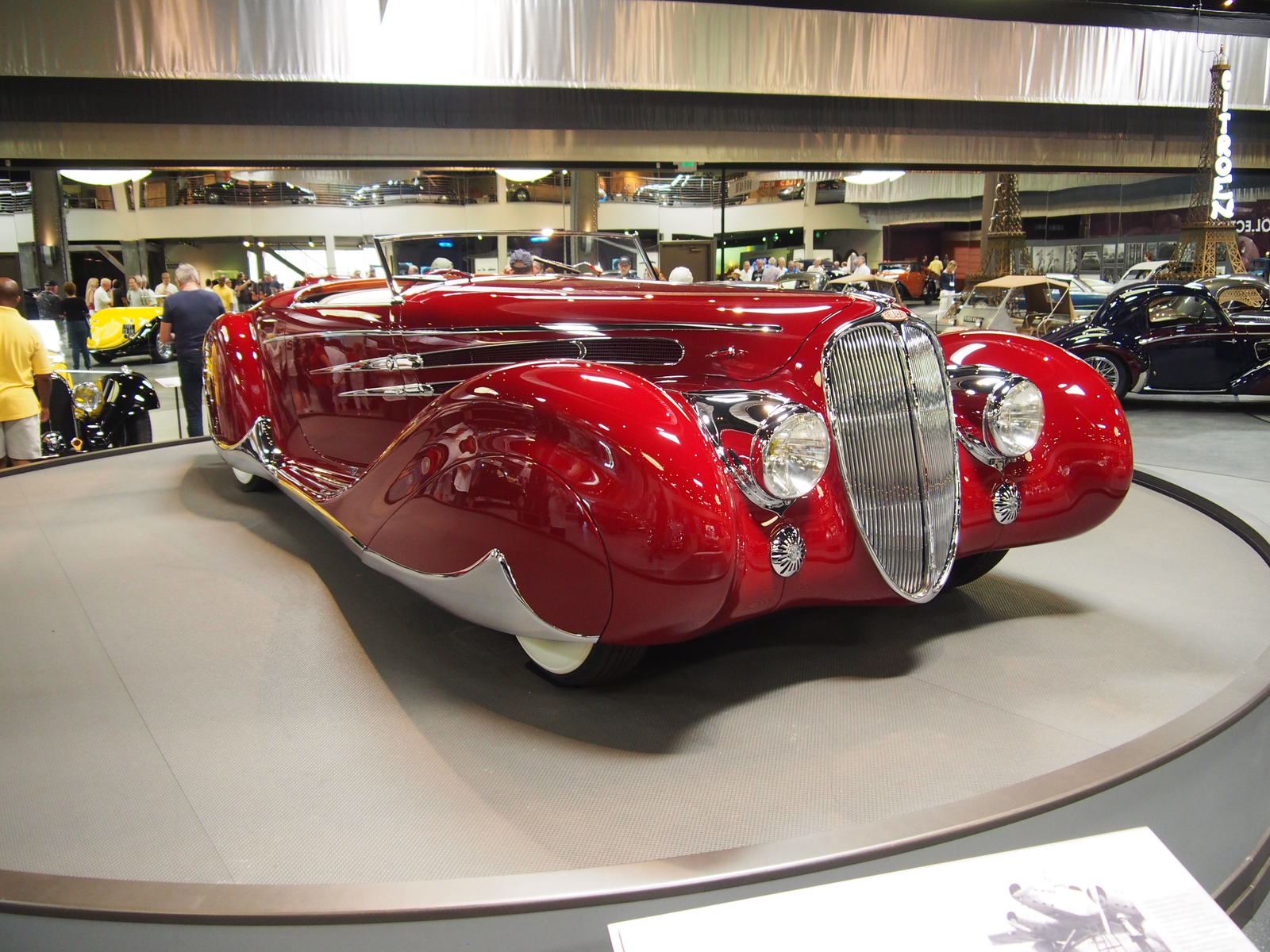 Another incredible Figoni & Falaschi Delahaye. This is a 1939 Type 165 Cabriolet. This car sat on a turntable in the middle of the main floor and I could have watched it go around and around all day. Somehow, this car found its way to Hawaii at one point, and was bought for $1,200 bucks in the 70's by a tow truck driver.