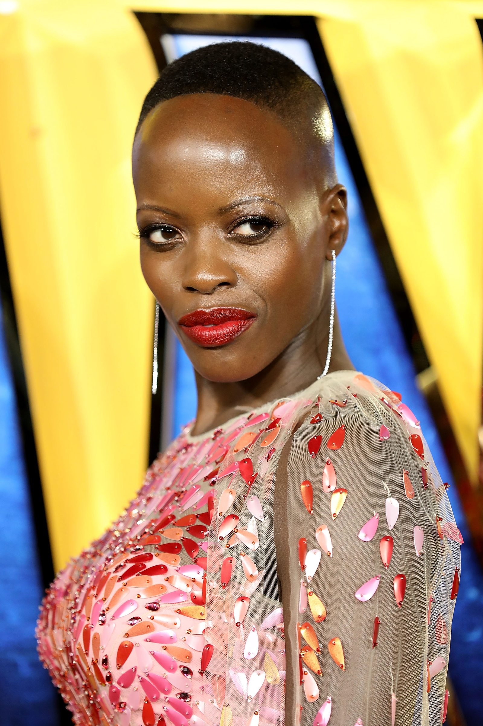 Florence Kasumba attends the European premiere of Black Panther in London Feb. 8, 2018. (Tim P. Whitby/Tim P. Whitby/Getty Images)