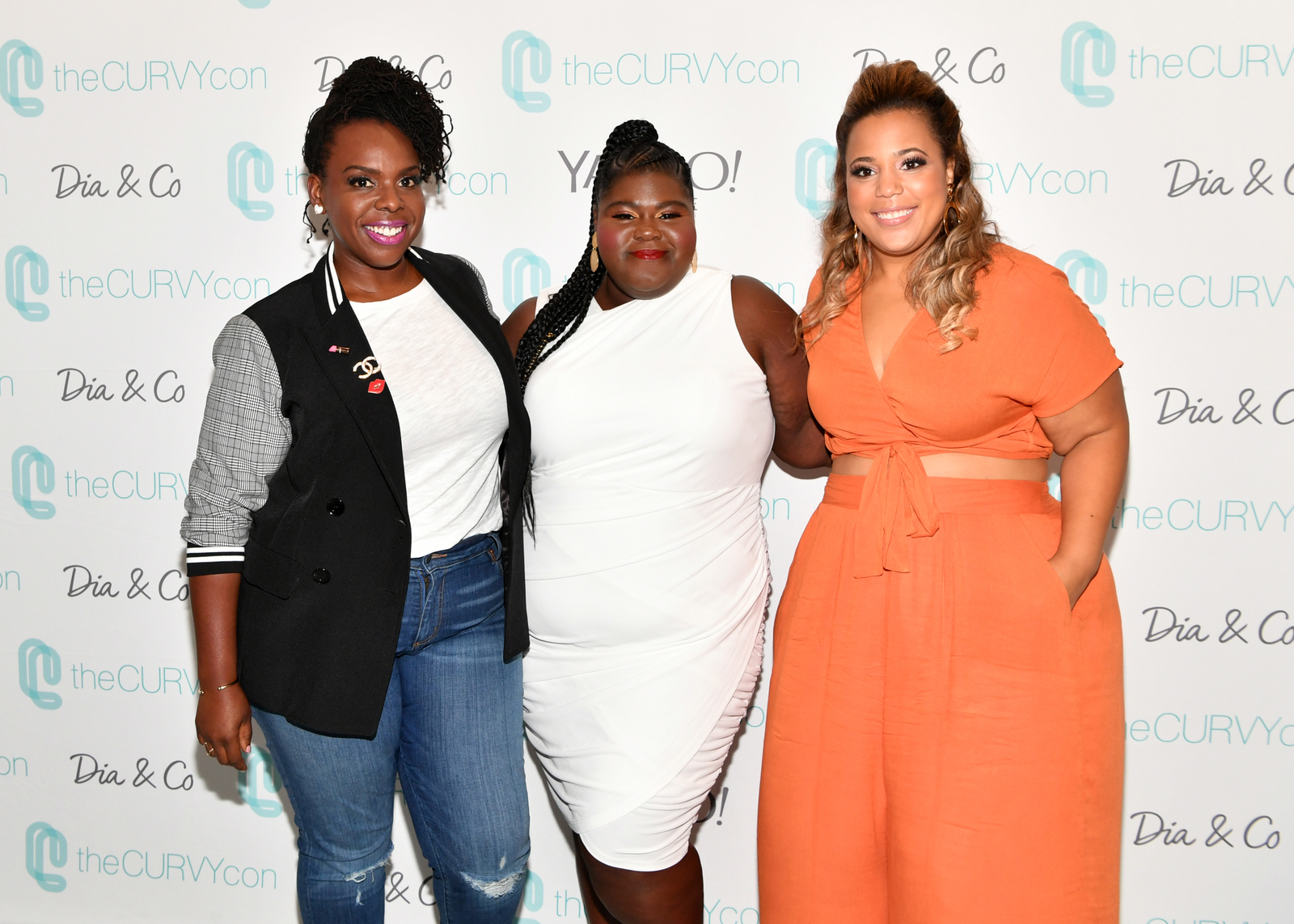(l-r) theCURVYcon co-founder Cece Olisa, Gabourey Sidibe, and theCURVYcon co-founder Chastity Garner Valentine attend theCURVYcon Powered By Dia&Co on September 8, 2018 in New York City.