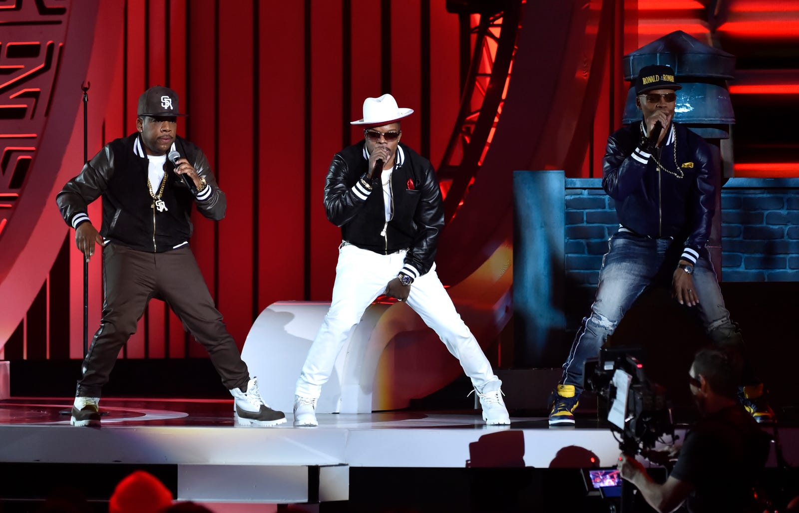 (L-R) Michael Bivins, Ricky Bell, and Ronnie DeVoe of Bell Biv DeVoe perform onstage during the 2018 Soul Train Awards at the Orleans Arena on November 17, 2018 in Las Vegas, Nevada.