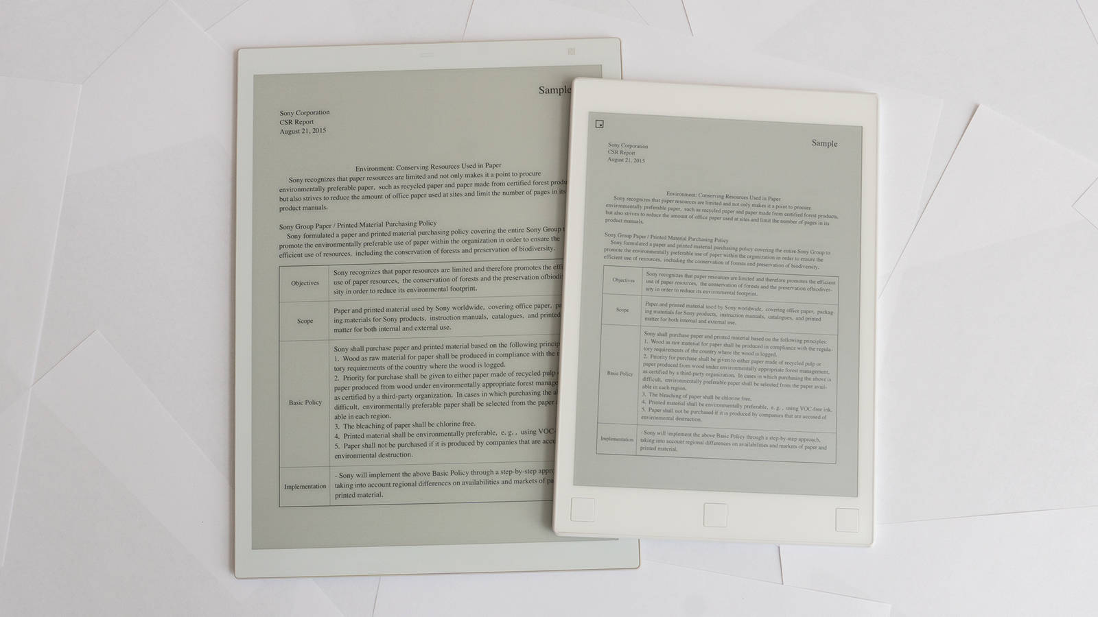 The Sony DPT-RP1 on the left, compared to the smaller reMarkable tablet on the right.