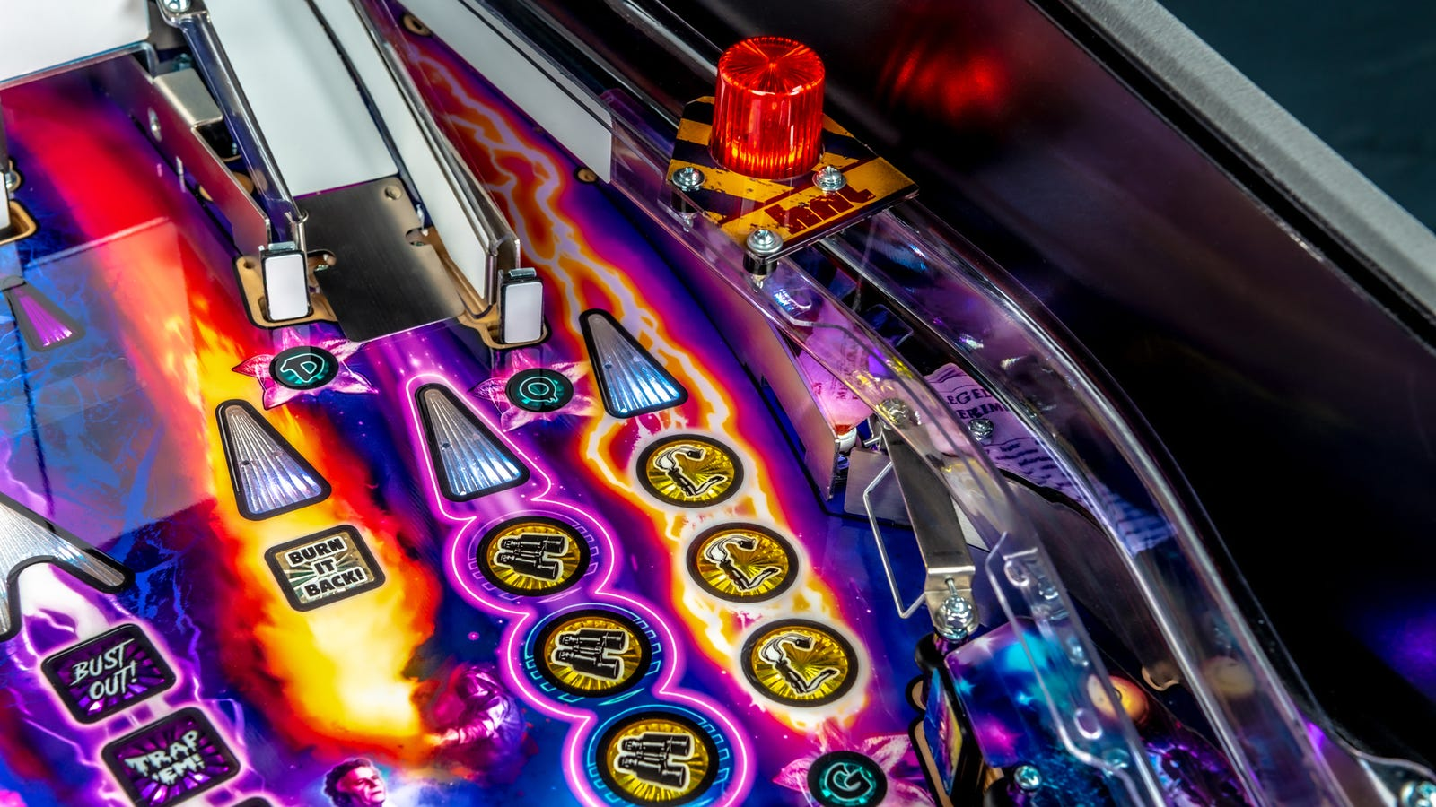 Classic pinball table elements like ramps and endless flashing lights are also included.