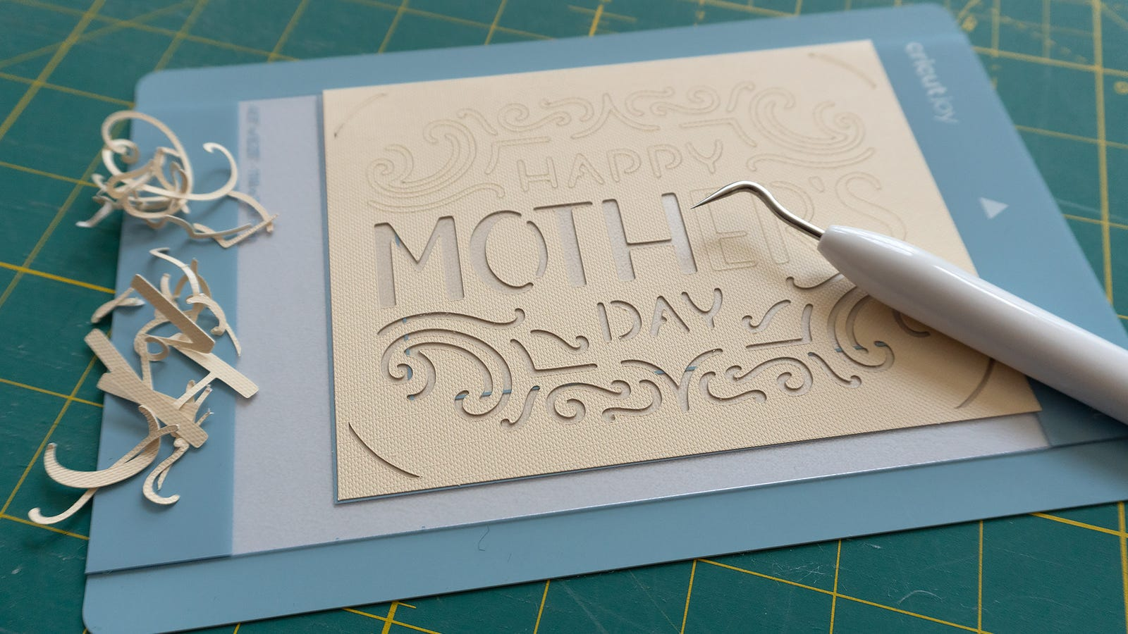 Loading pre-made designs and sending them to the Cricut Joy is the easy part. Once your design is cut you'll need to spend a bit of time, depending on the complexity, carefully removing it from the adhesive cutting mat.