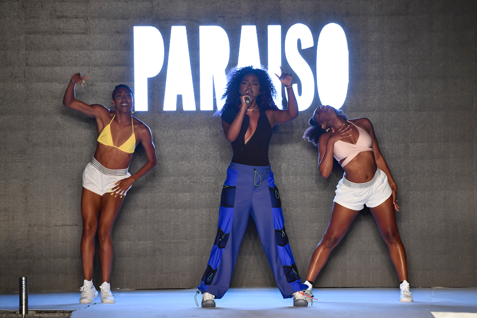 Justine Skye performs on the runway for the 2018 Sports Illustrated Swimsuit show at PARAISO during Miami Swim Week at The W Hotel South Beach on July 15, 2018 in Miami, Florida.
