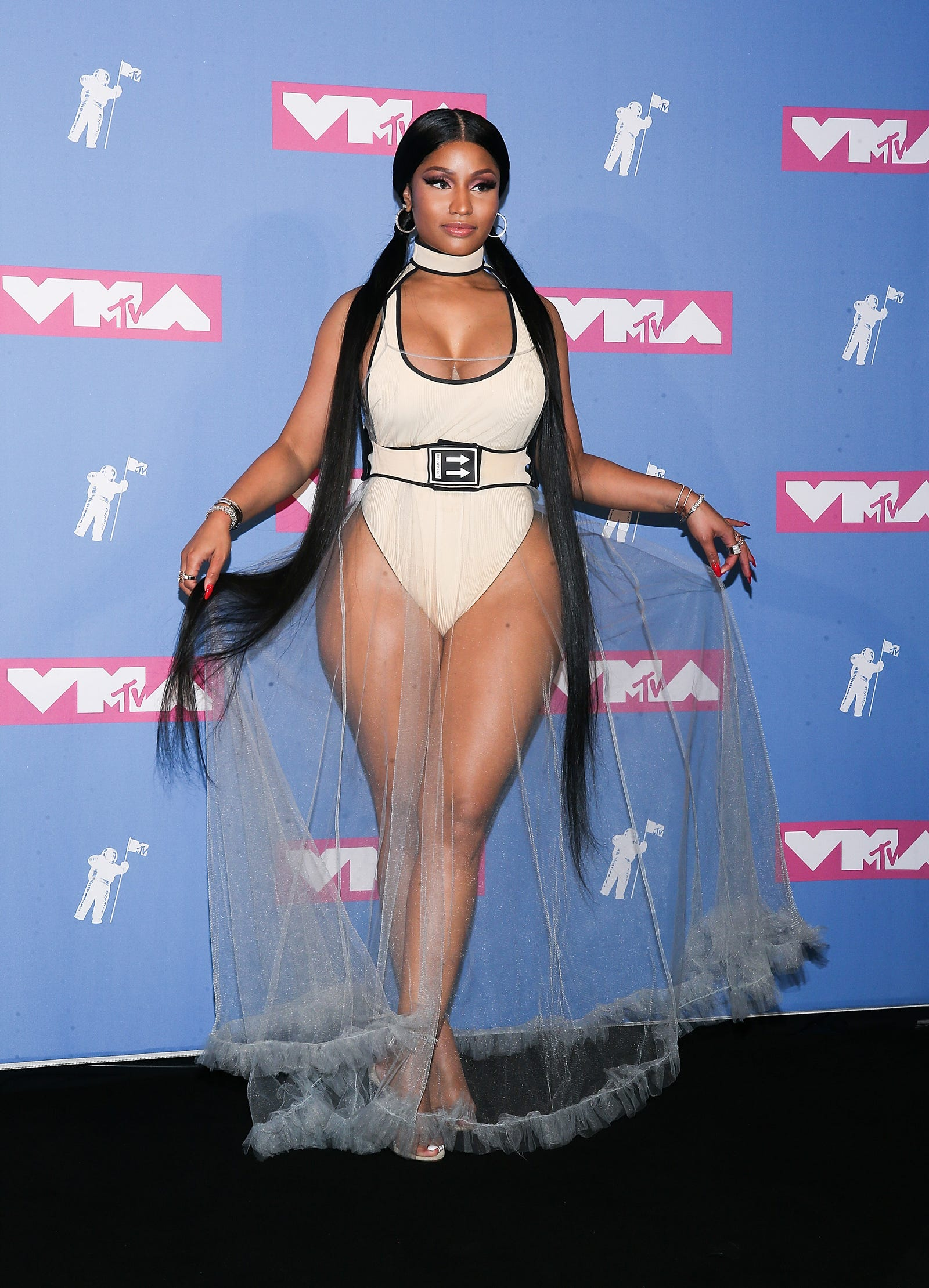 Nicki Minaj poses in Off-White in the press room at the 2018 MTV Video Music Awards at Radio City Music Hall on August 20, 2018 in New York City.
