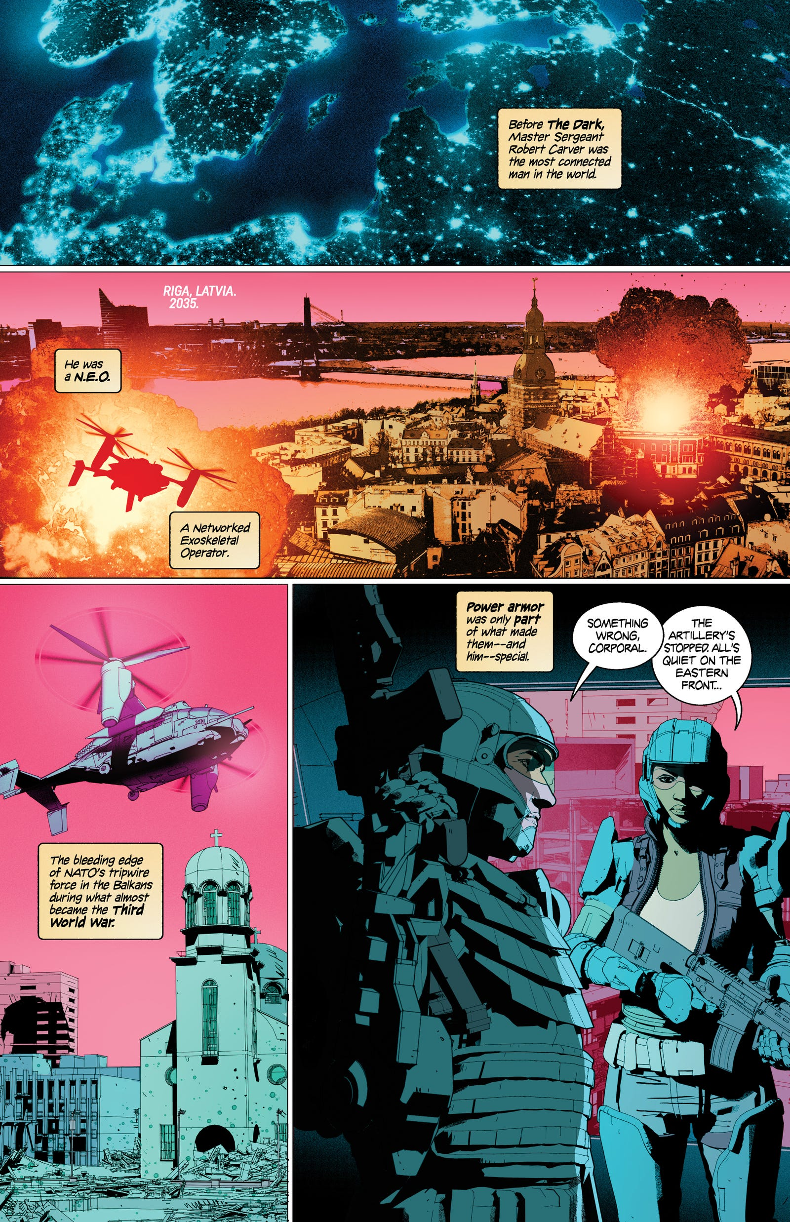 An exclusive look inside the world of The Dark. Art by Kristian Donaldson and Lee Loughridge, lettering by Thomas Mauer.