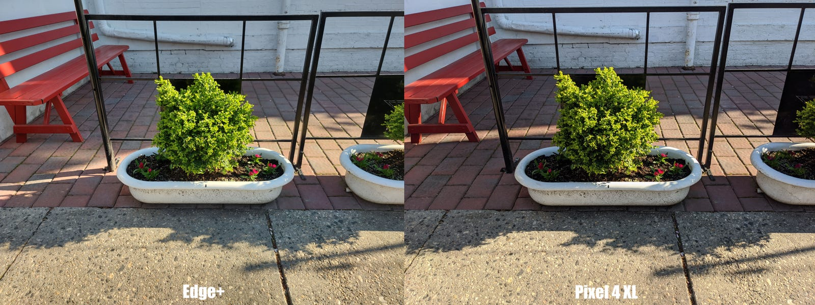 While the Edge+'s photo is good, the Pixel 4's shot has better contrast and slightly richer colors. Note: The Edge+'s pics have been cropped down to 12-MP, as its default 25-MP images make it hard to create comparison shots.