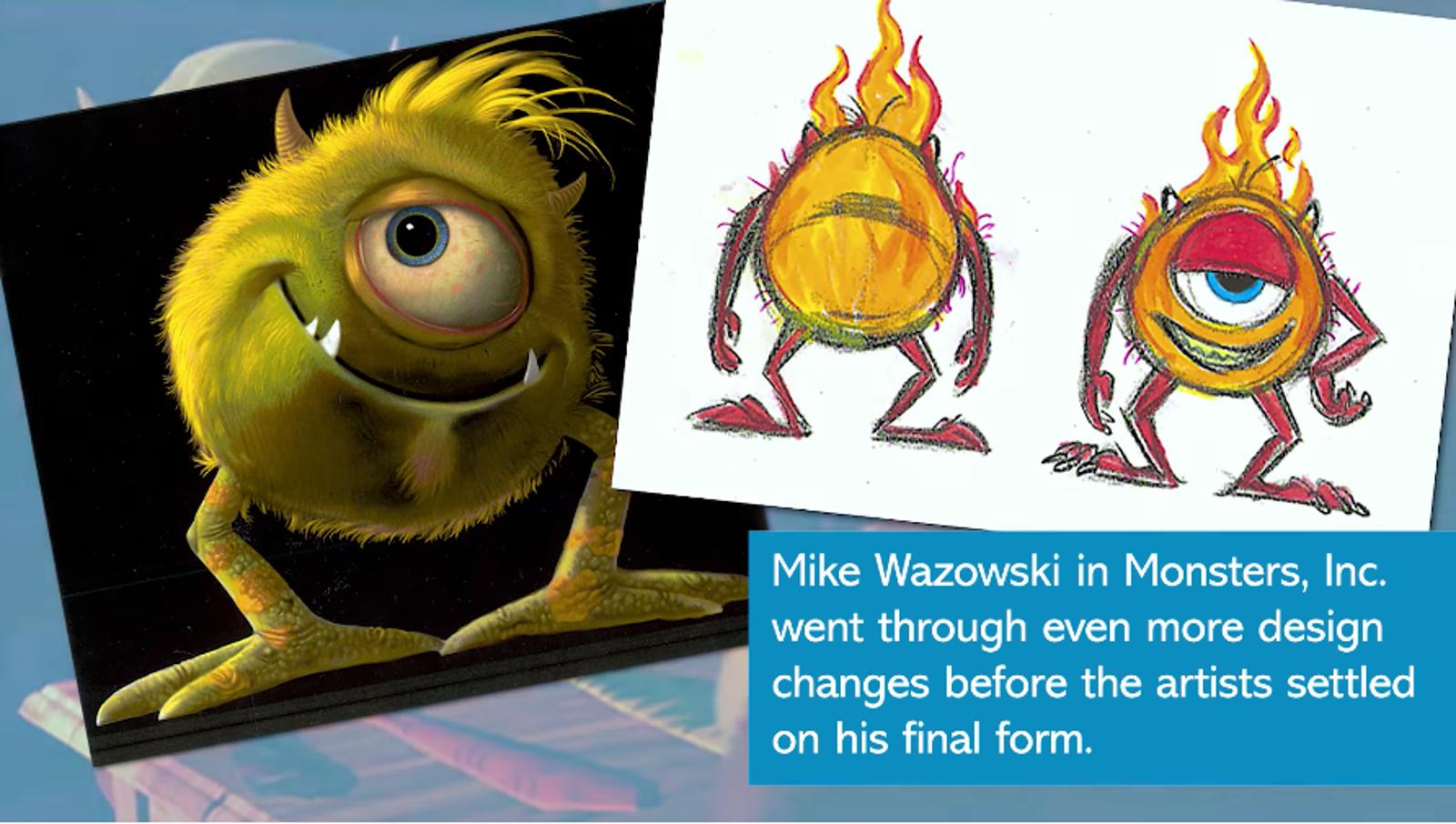 Algunos de los diseños originales de Mike Wazowski en Monster, Inc.