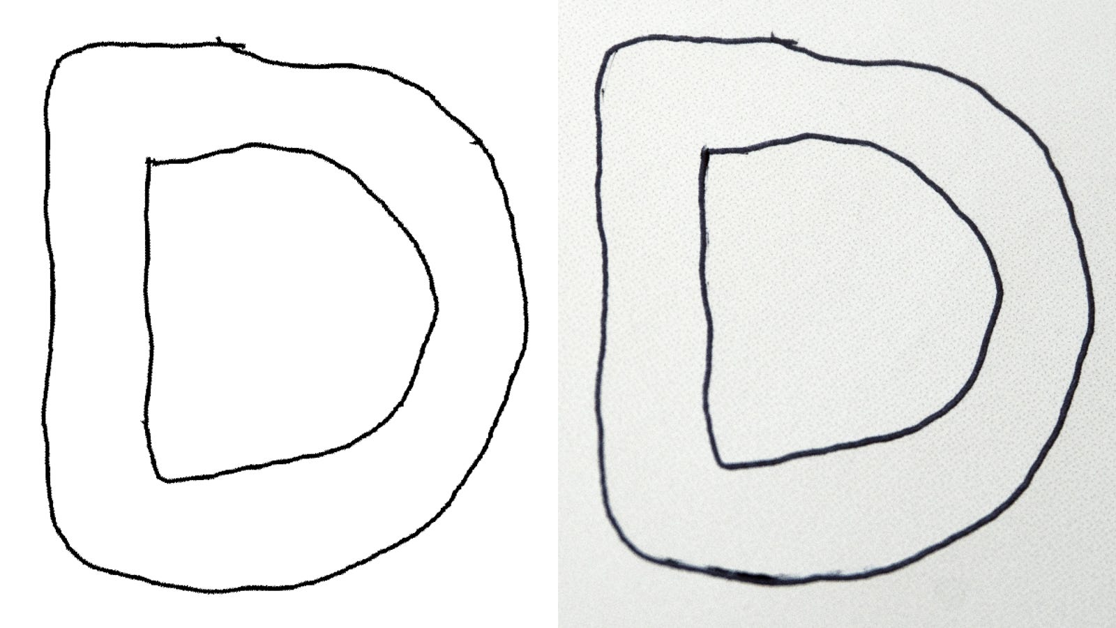 The digitized character in Adobe Illustrator (left) versus the original drawing in the Moleskine Paper Tablet (right).