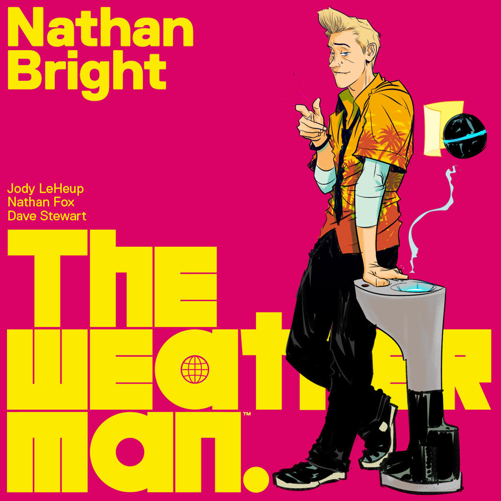 """""""NATHAN BRIGHT is the fun-loving local weatherman accused of masterminding the terrorist attack that wiped out the population of Earth. Which normally would be a pretty easy thing to clear up except for the fact that he can't remember if he did it or not.""""—Jody LeHeup"""