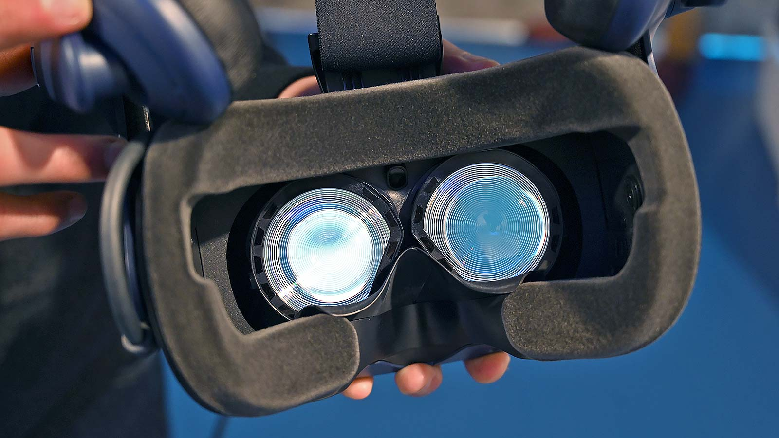 You can see the Vive Pro Eye's built-in eye tracker wedged between the headset's two lenses.